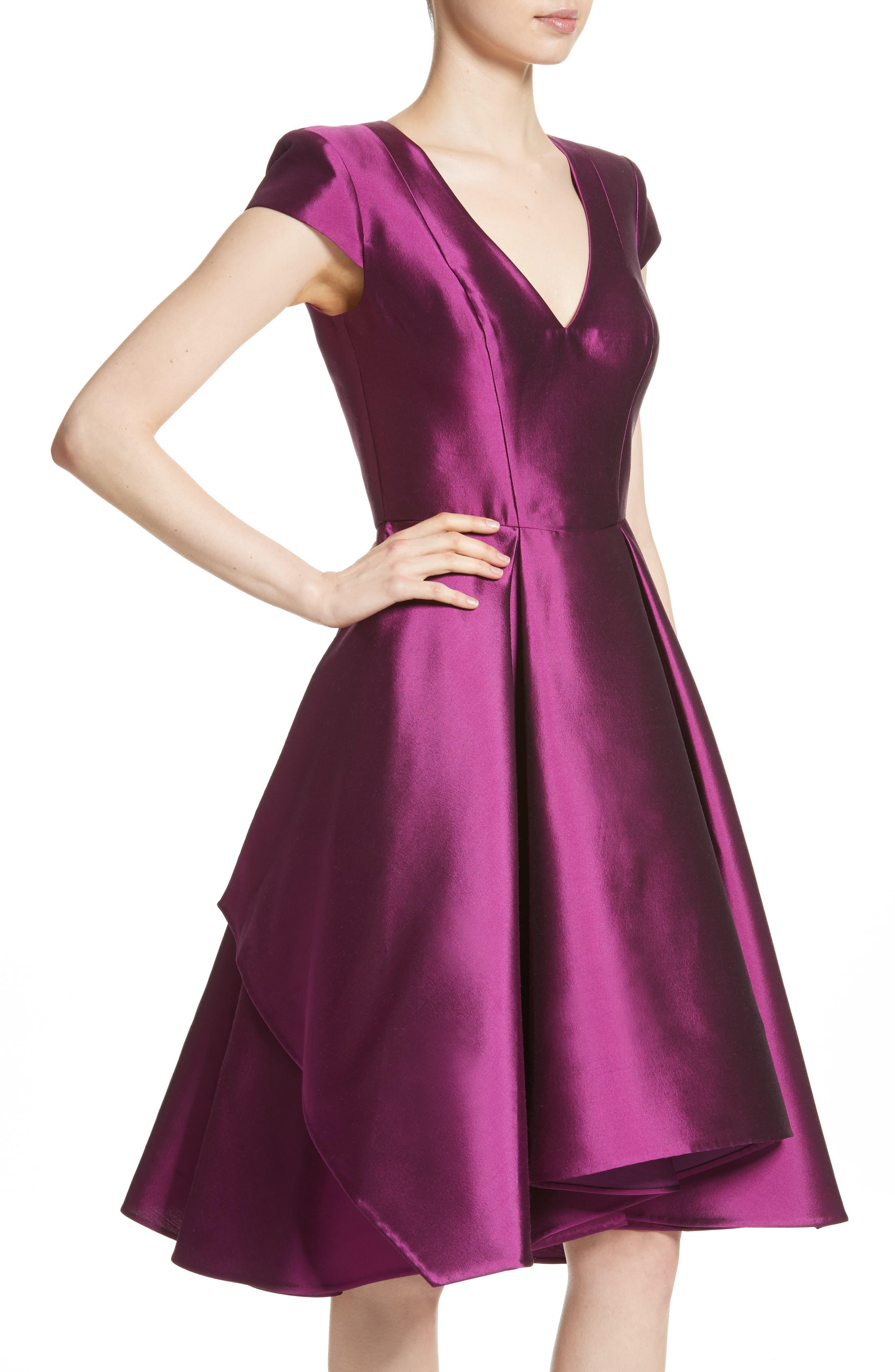 Fit & Flare Faille Dress,                             Alternate thumbnail 4, color,