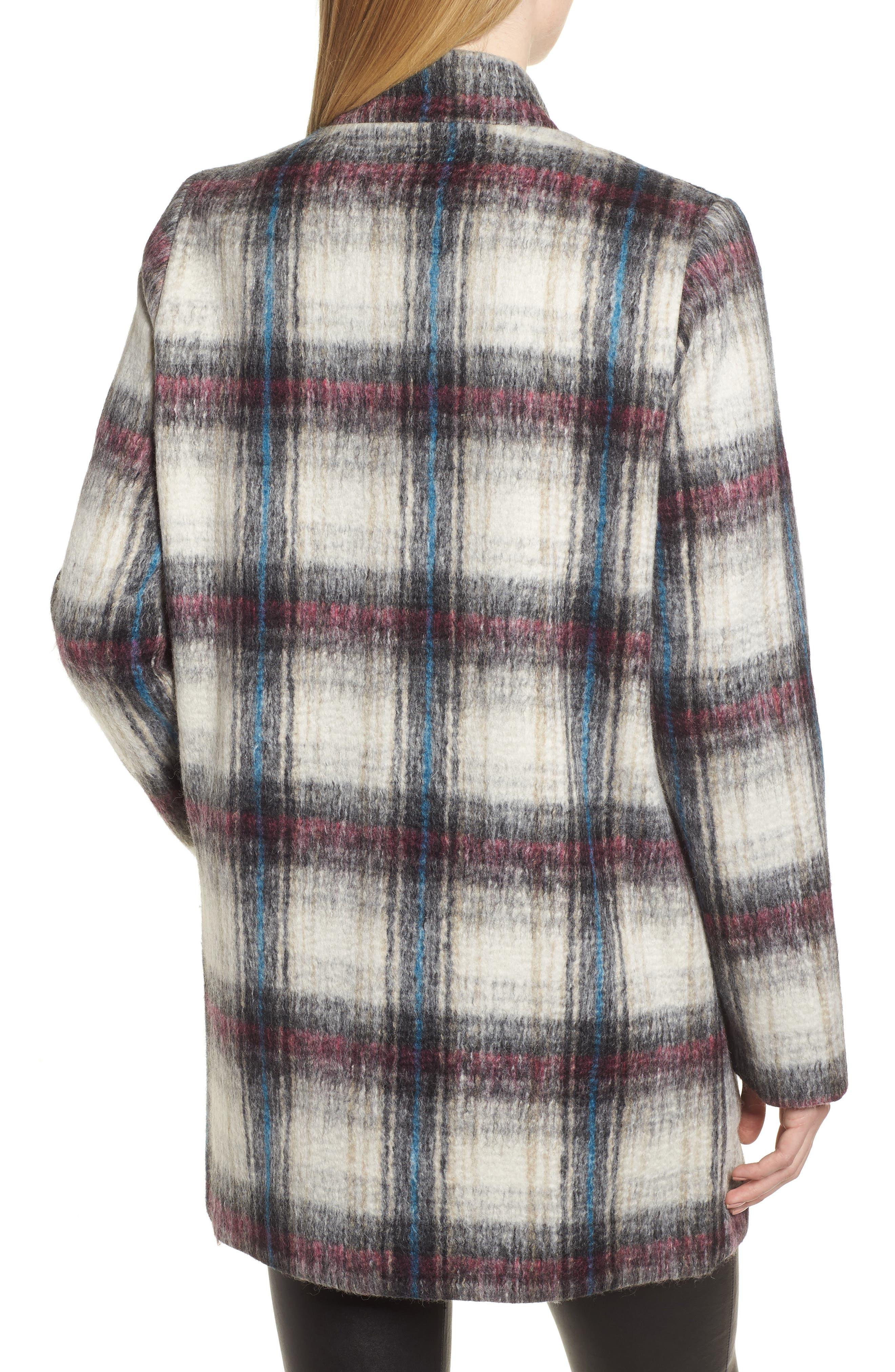 Drop Shoulder Plaid Wool Blend Coat,                             Alternate thumbnail 2, color,                             250