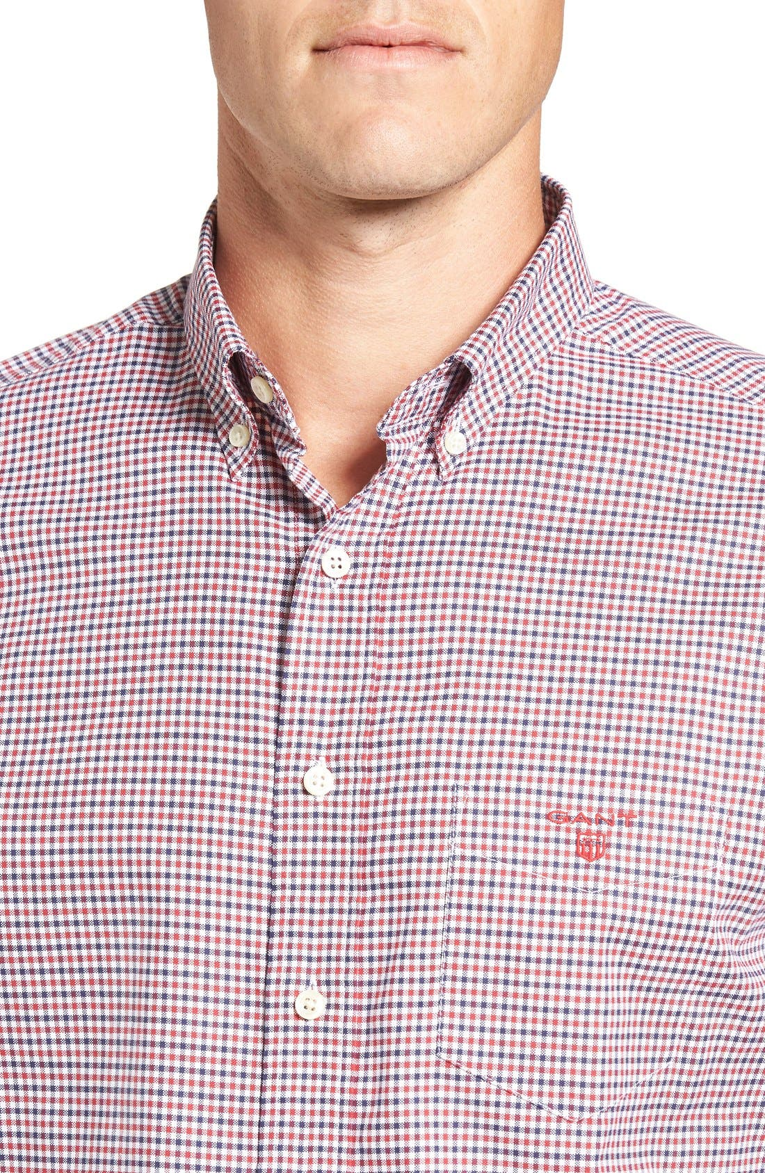 Gingham Fitted Sport Shirt,                             Alternate thumbnail 8, color,