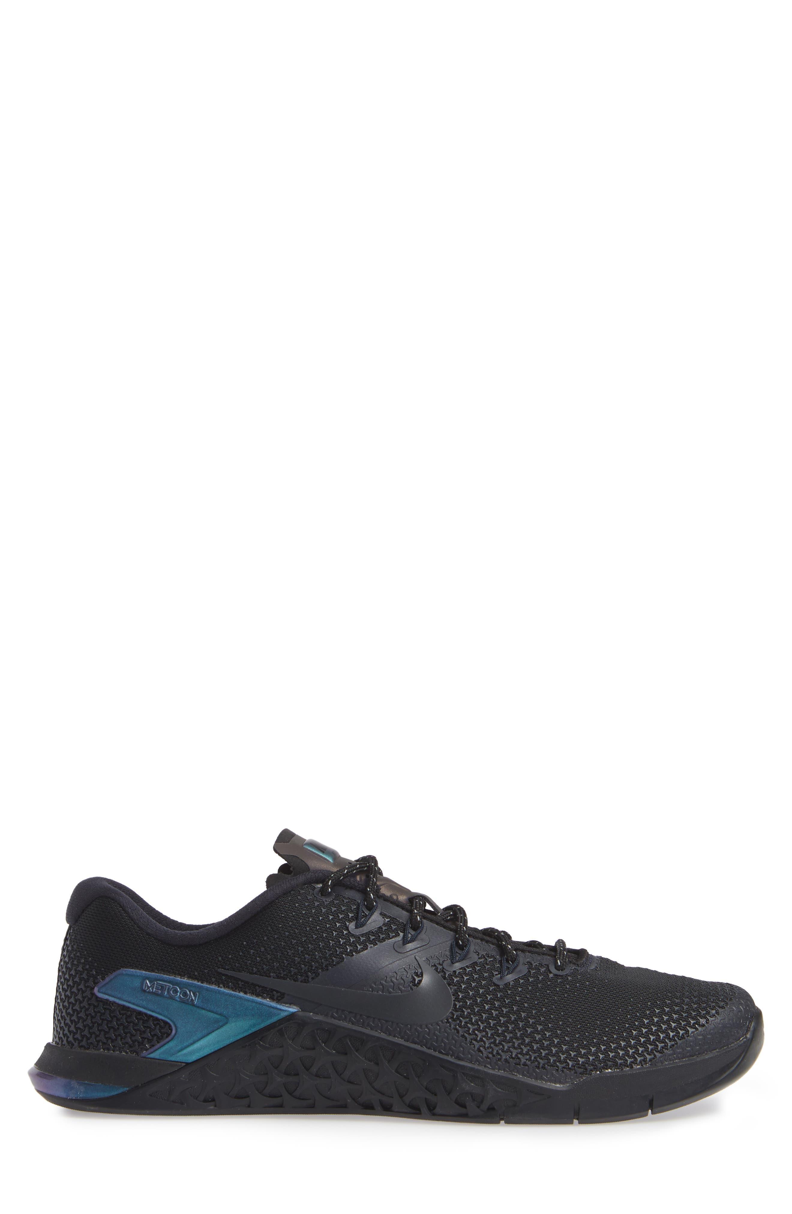 NIKE,                             Metcon 4 Prem Training Shoe,                             Alternate thumbnail 3, color,                             BLACK/ BLACK/ DARK OBSIDIAN