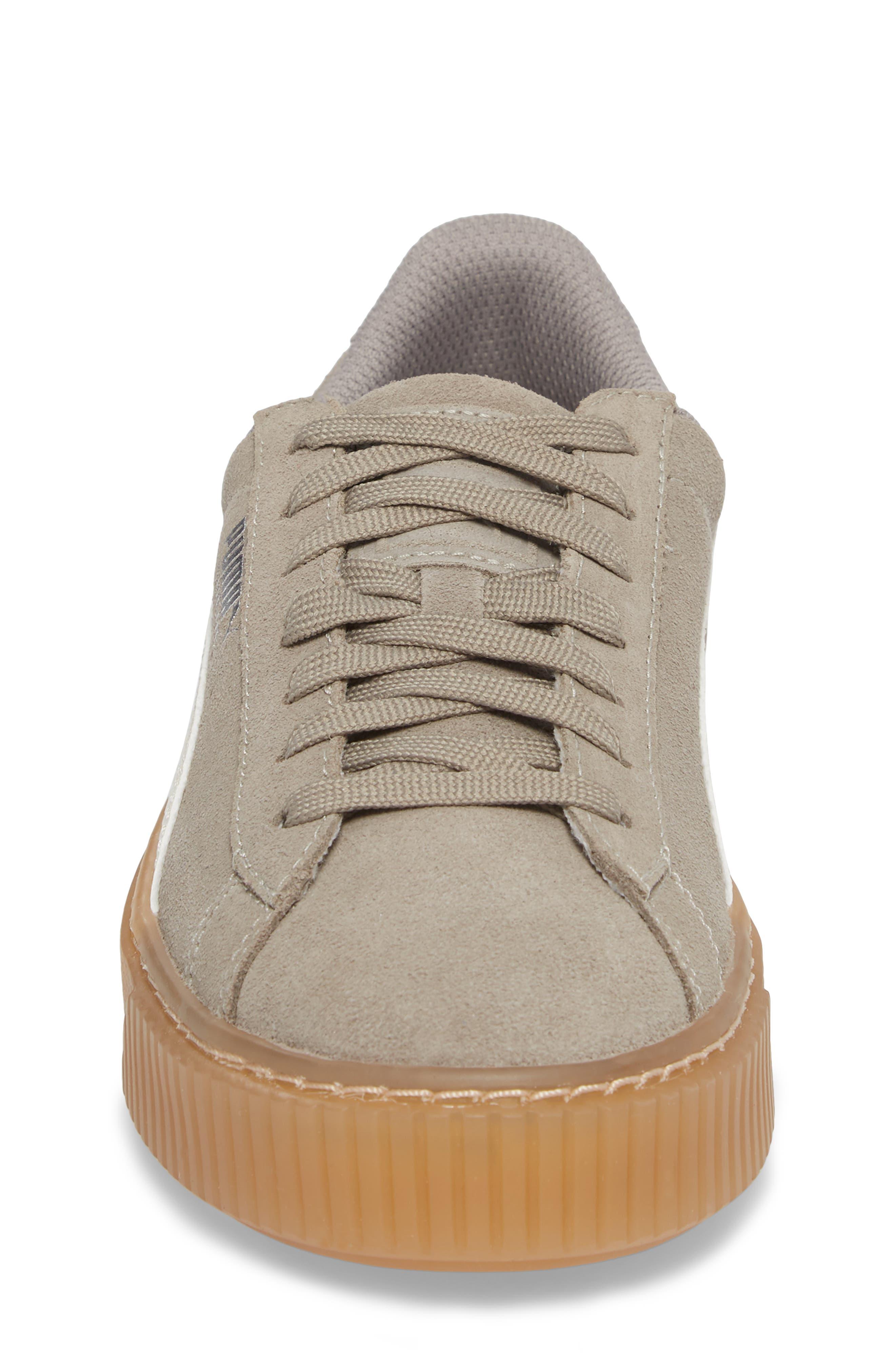 Suede Platform Jr Sneaker,                             Alternate thumbnail 4, color,                             060