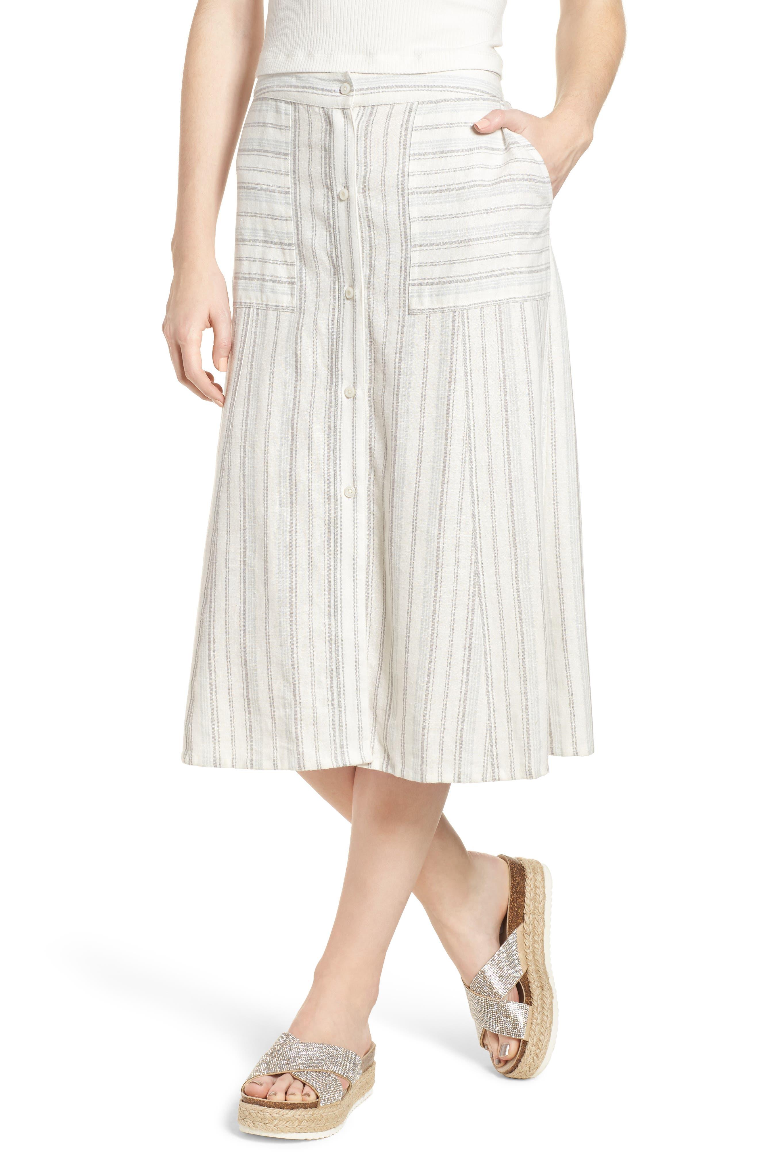 Stripe Linen Blend Midi Skirt,                             Main thumbnail 1, color,                             IVORY VERIGATED STRIPE