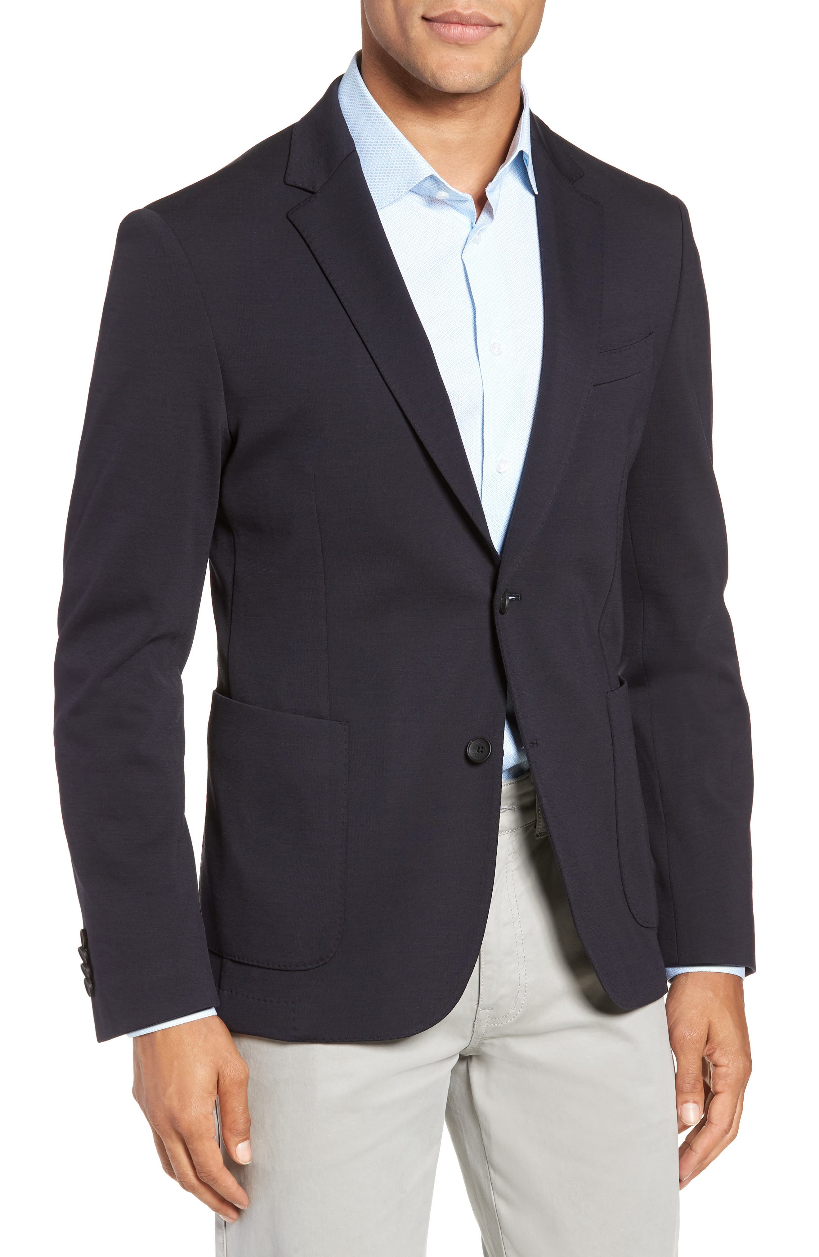 BOSS,                             Nold Trim Fit Stretch Wool Blend Sport Coat,                             Main thumbnail 1, color,                             OPEN BLUE