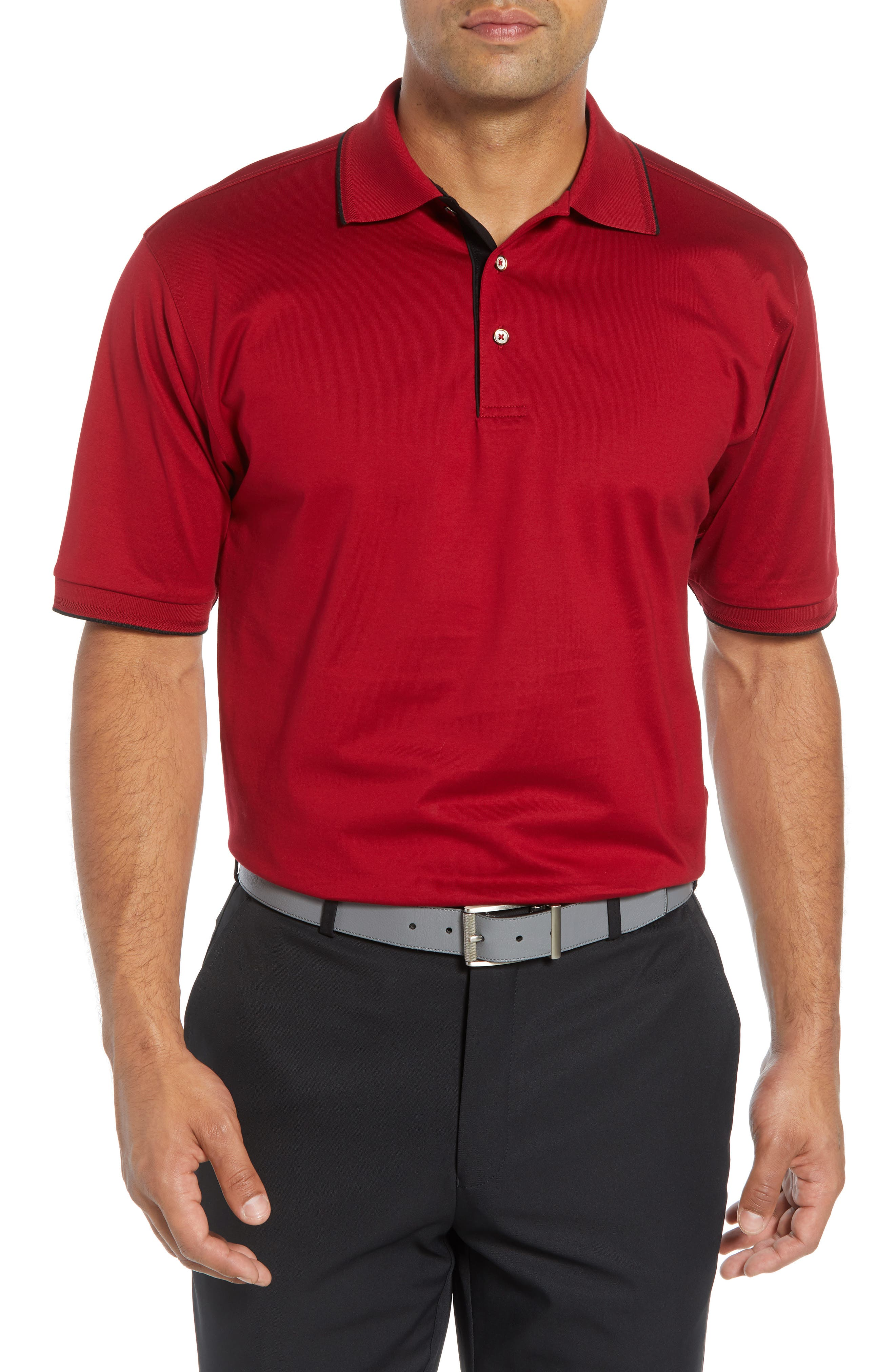 BOBBY JONES Solid Tipped Polo in Cranberry