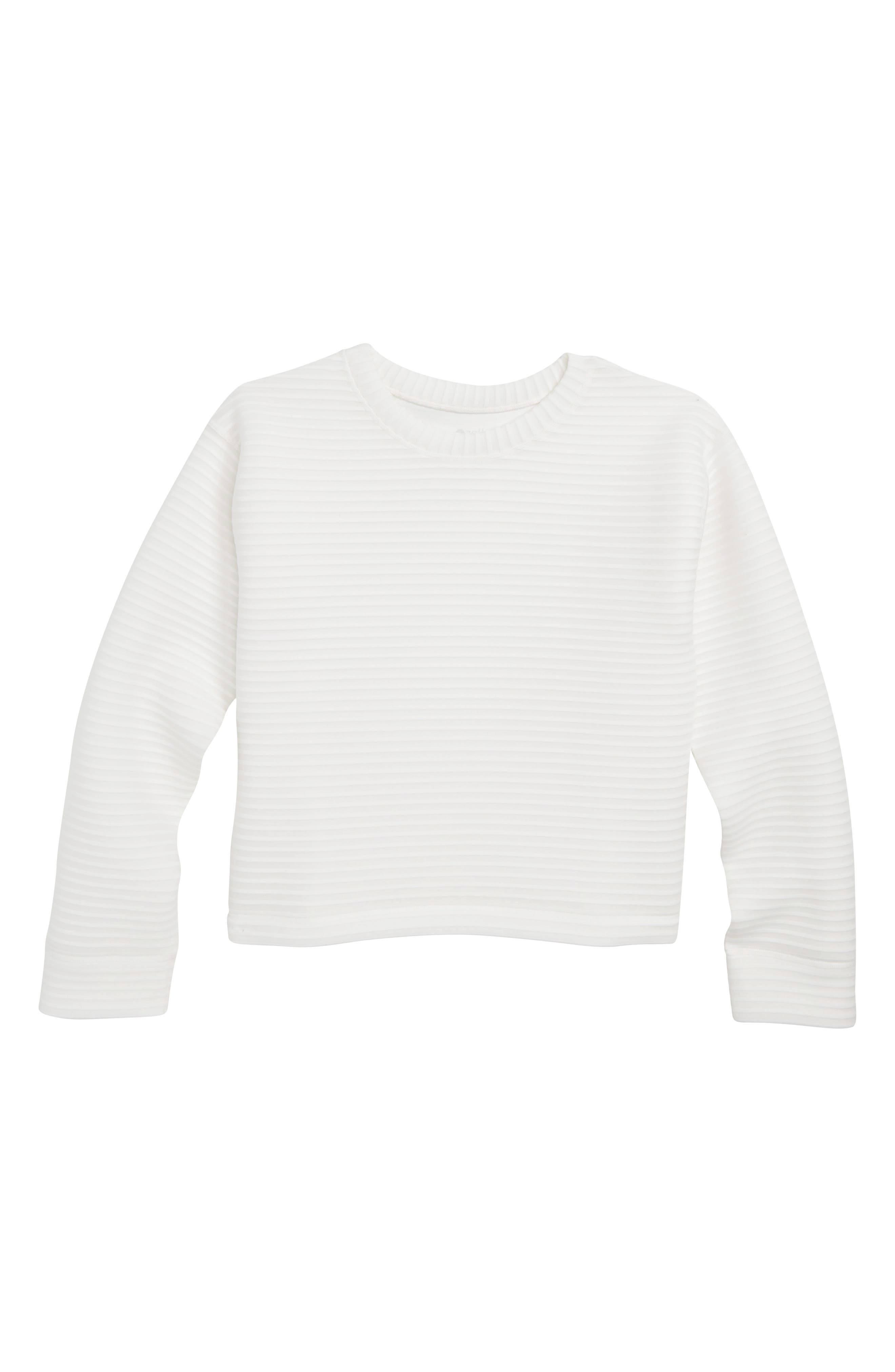 Stripe Spacer Pullover,                             Main thumbnail 1, color,                             WHITE