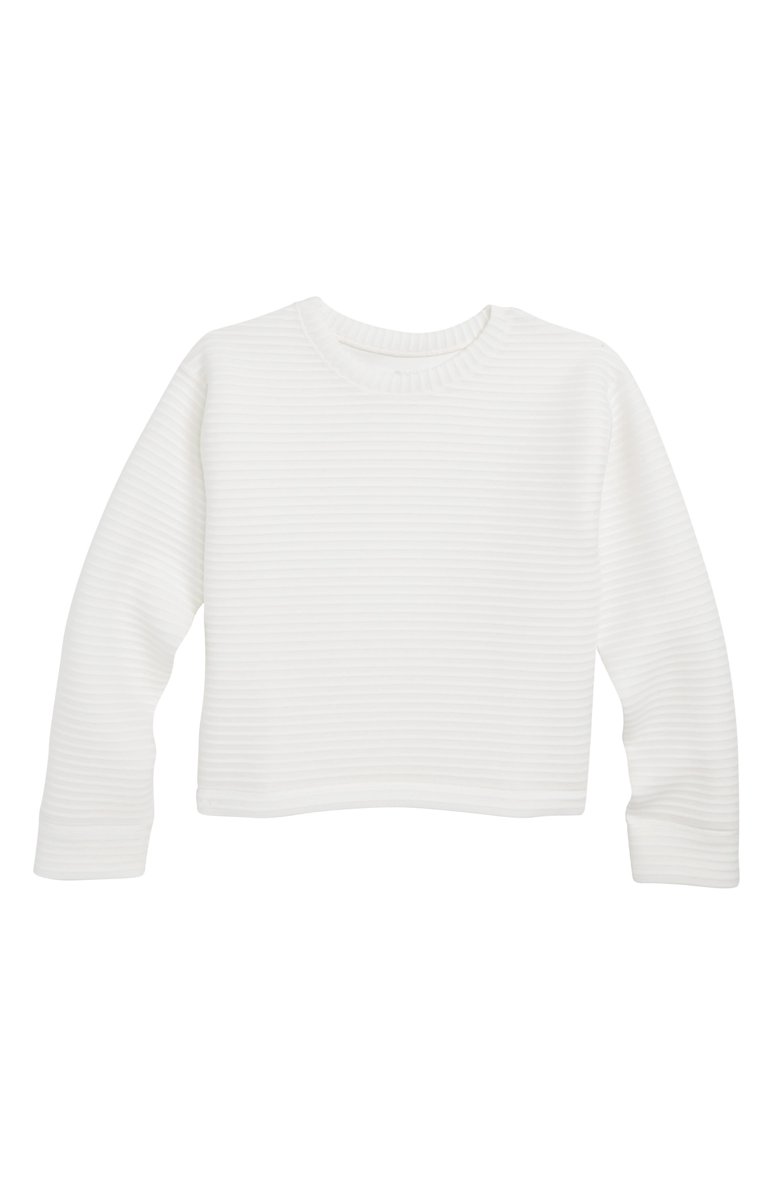 Stripe Spacer Pullover,                         Main,                         color, WHITE