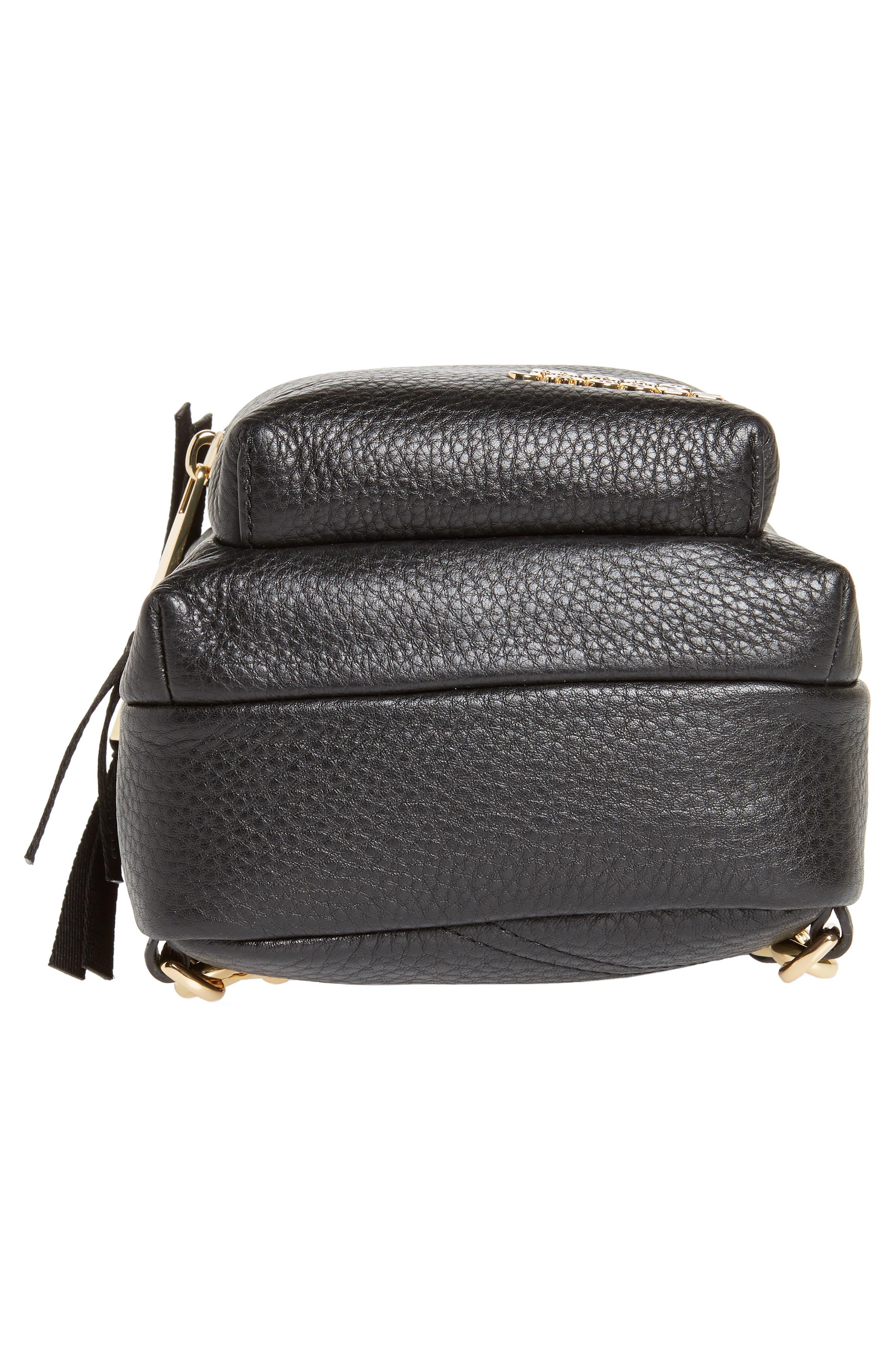 Mini Trek Leather Backpack,                             Alternate thumbnail 7, color,                             BLACK