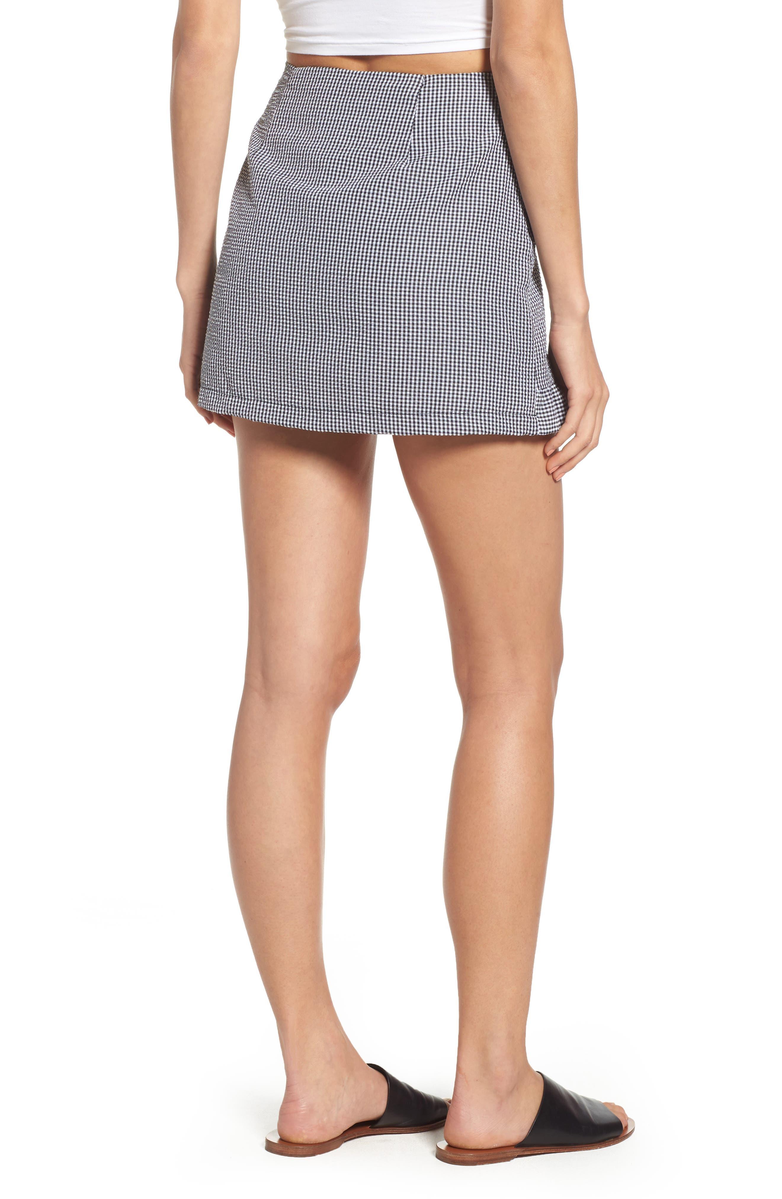 Ruffle Trim Gingham Skirt,                             Alternate thumbnail 2, color,                             001
