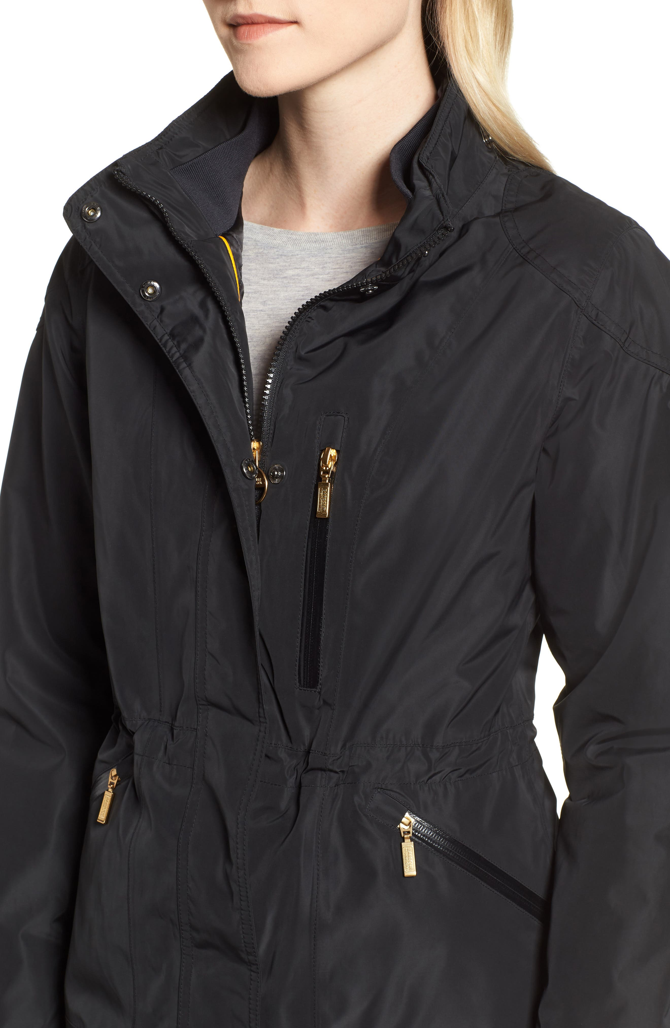 BARBOUR,                             International Aragon Waterproof Breathable Faux Fur Trim Jacket,                             Alternate thumbnail 5, color,                             001