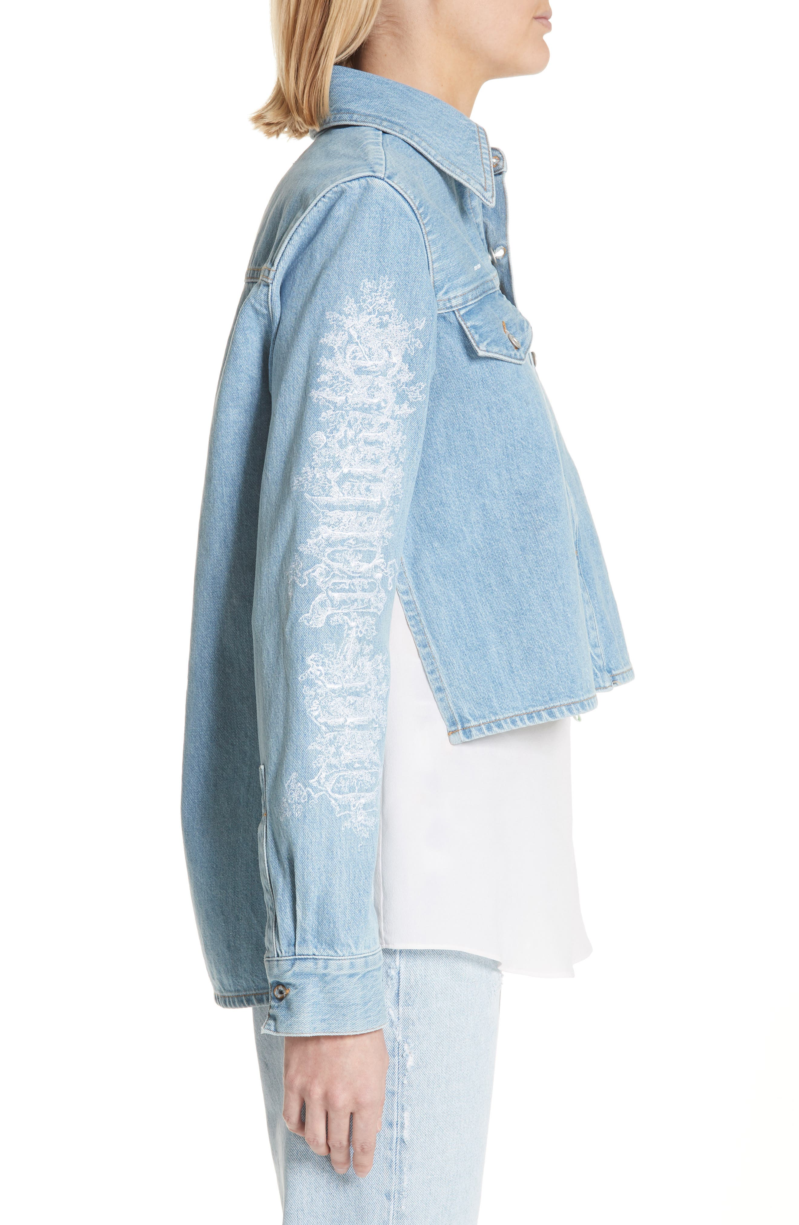 Crop Front Denim Shirt,                             Alternate thumbnail 3, color,                             400