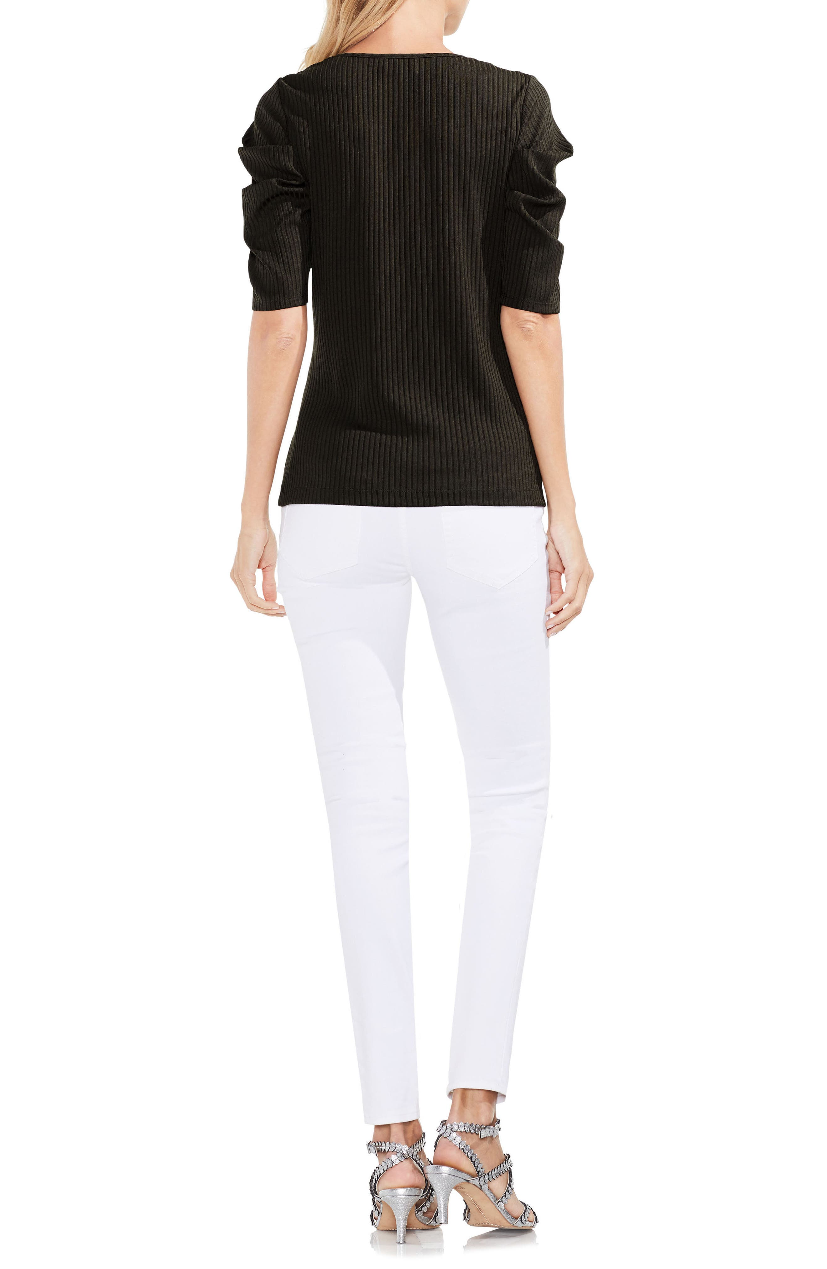 Draped Sleeve Ribbed Tee,                             Alternate thumbnail 11, color,