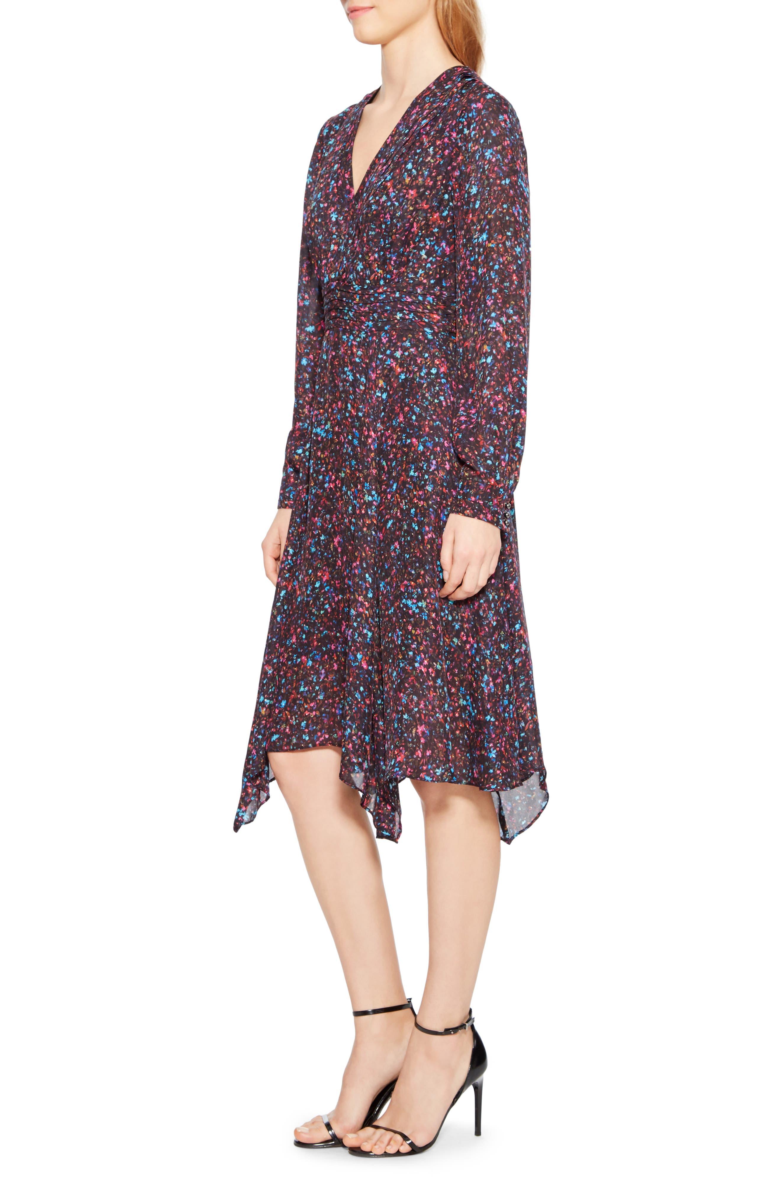 Evanna Floral Print Midi Dress,                             Alternate thumbnail 3, color,                             MINI DITSY