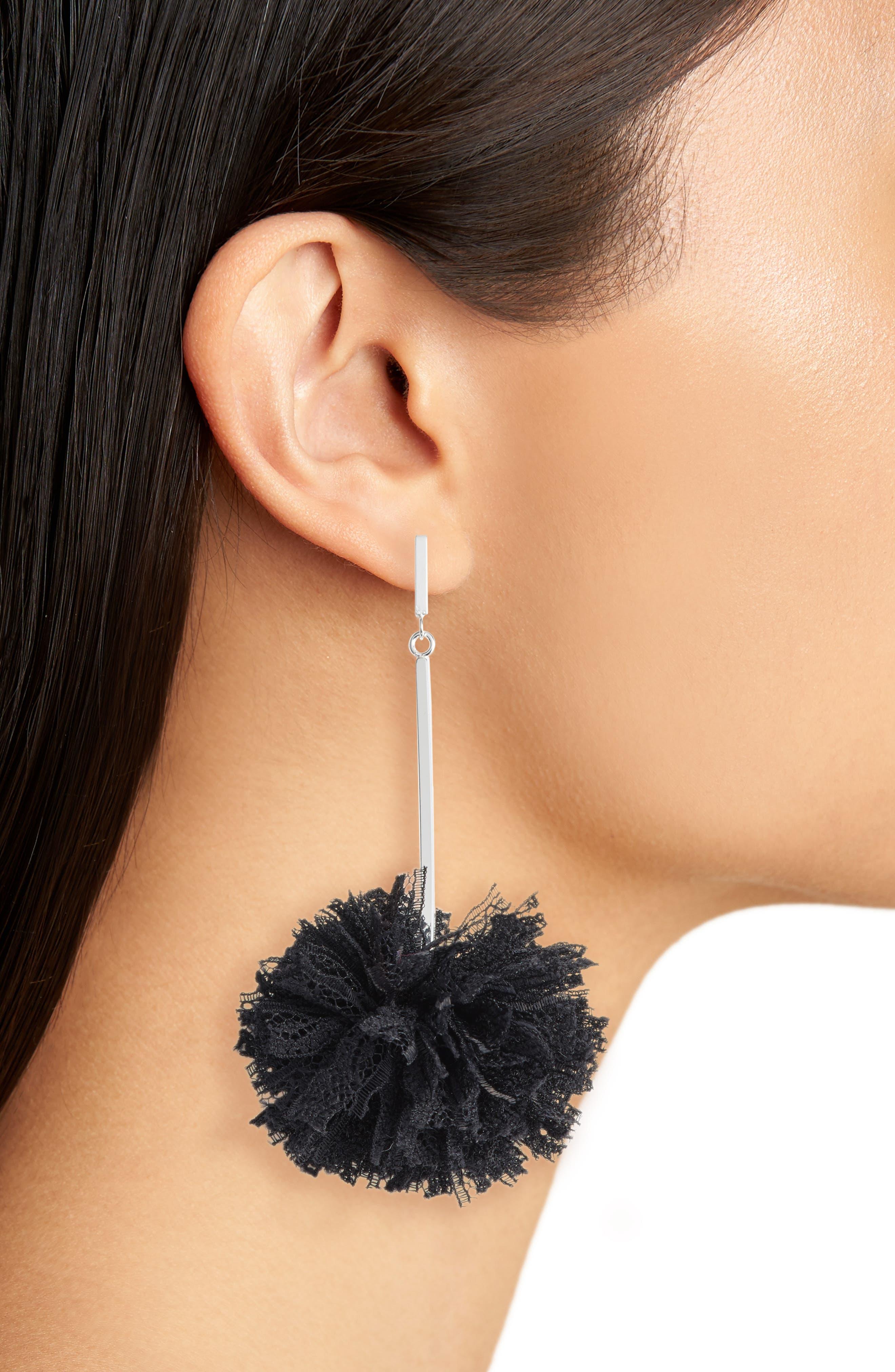 Lace Pom Pom Earrings,                             Alternate thumbnail 2, color,                             001