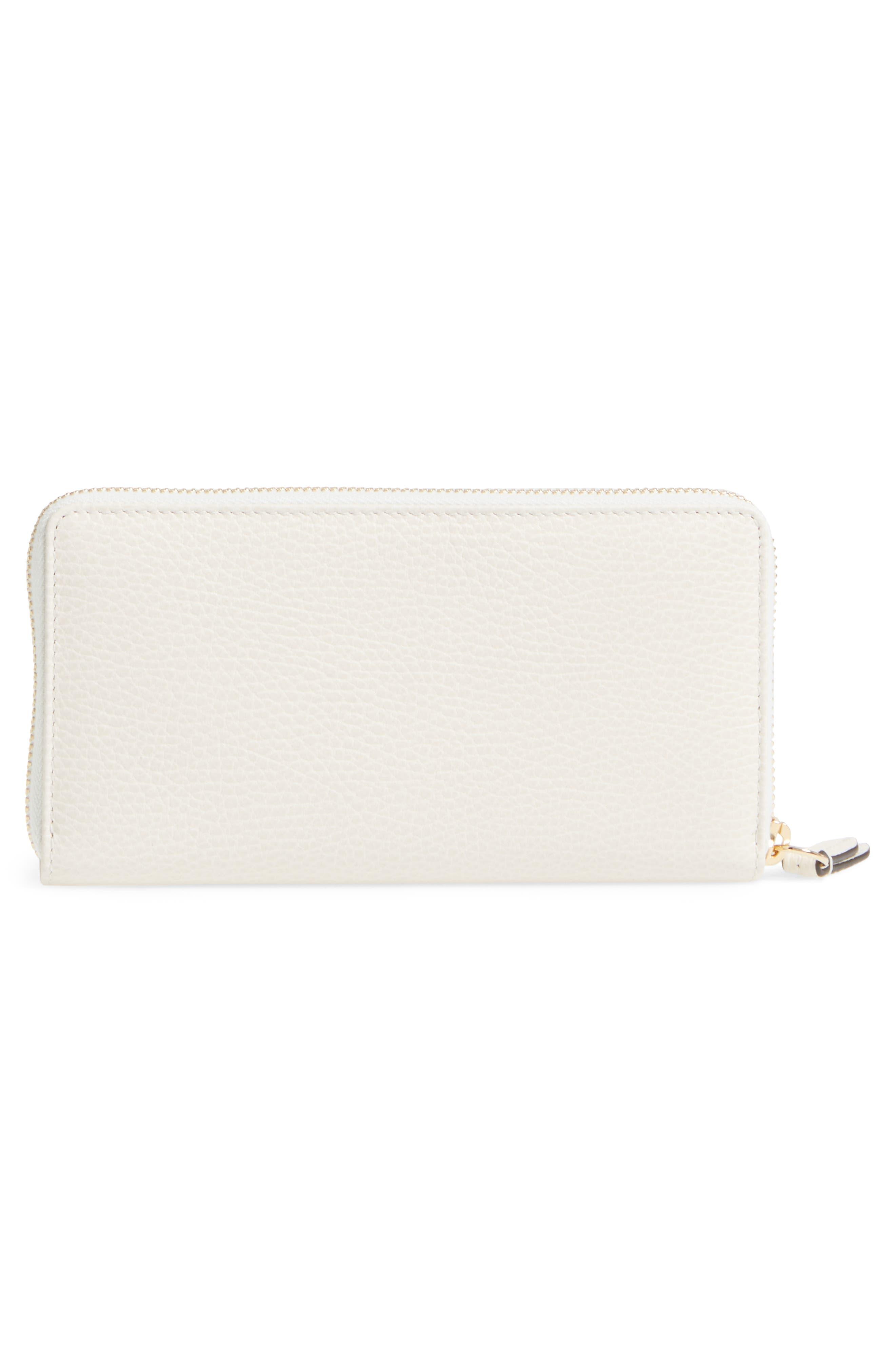 Petite Marmont Leather Zip Around Wallet,                             Alternate thumbnail 3, color,                             MYSTIC WHITE