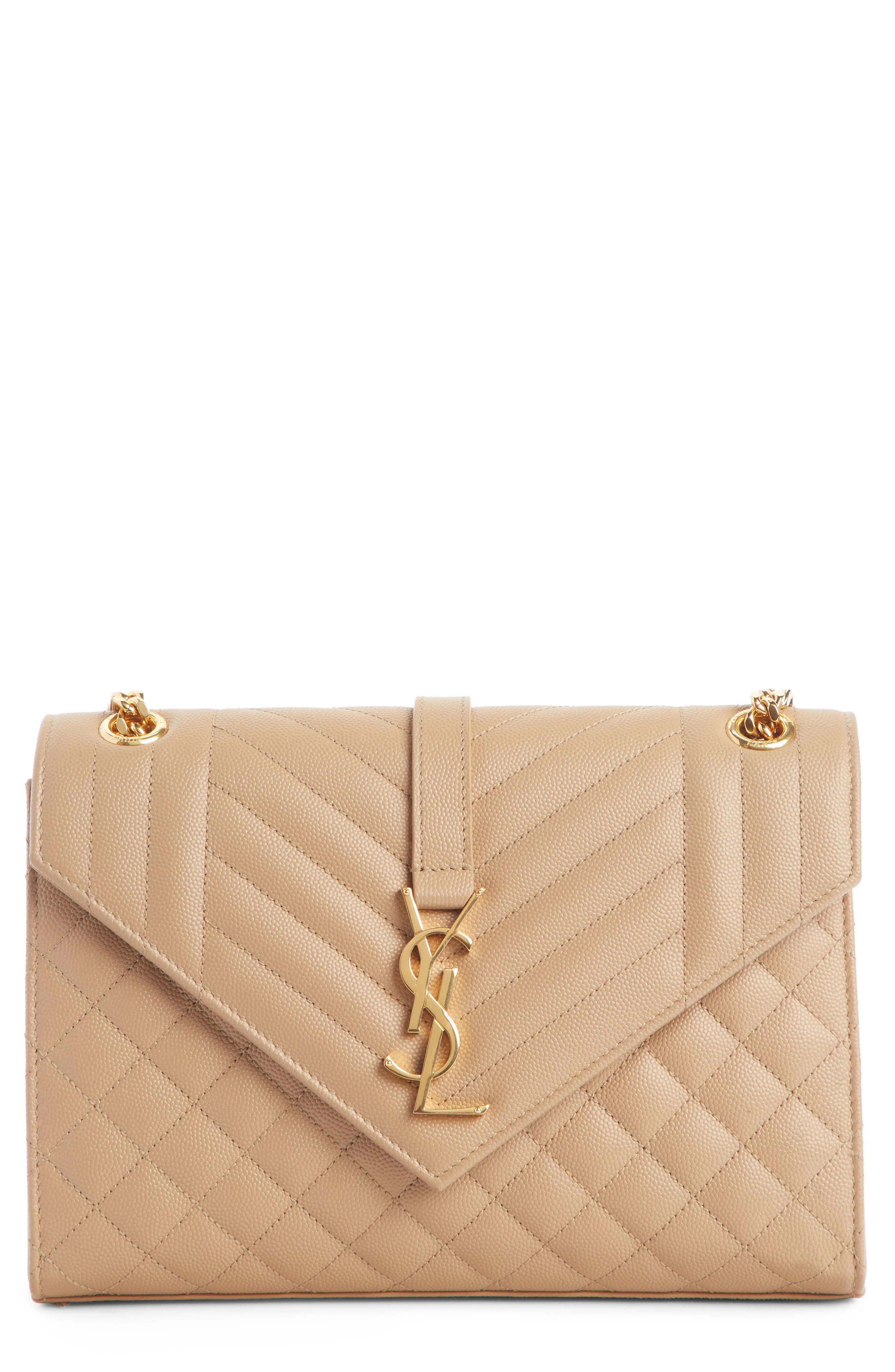 SAINT LAURENT Large Cassandra Calfskin Shoulder Bag, Main, color, CORK/ CORK