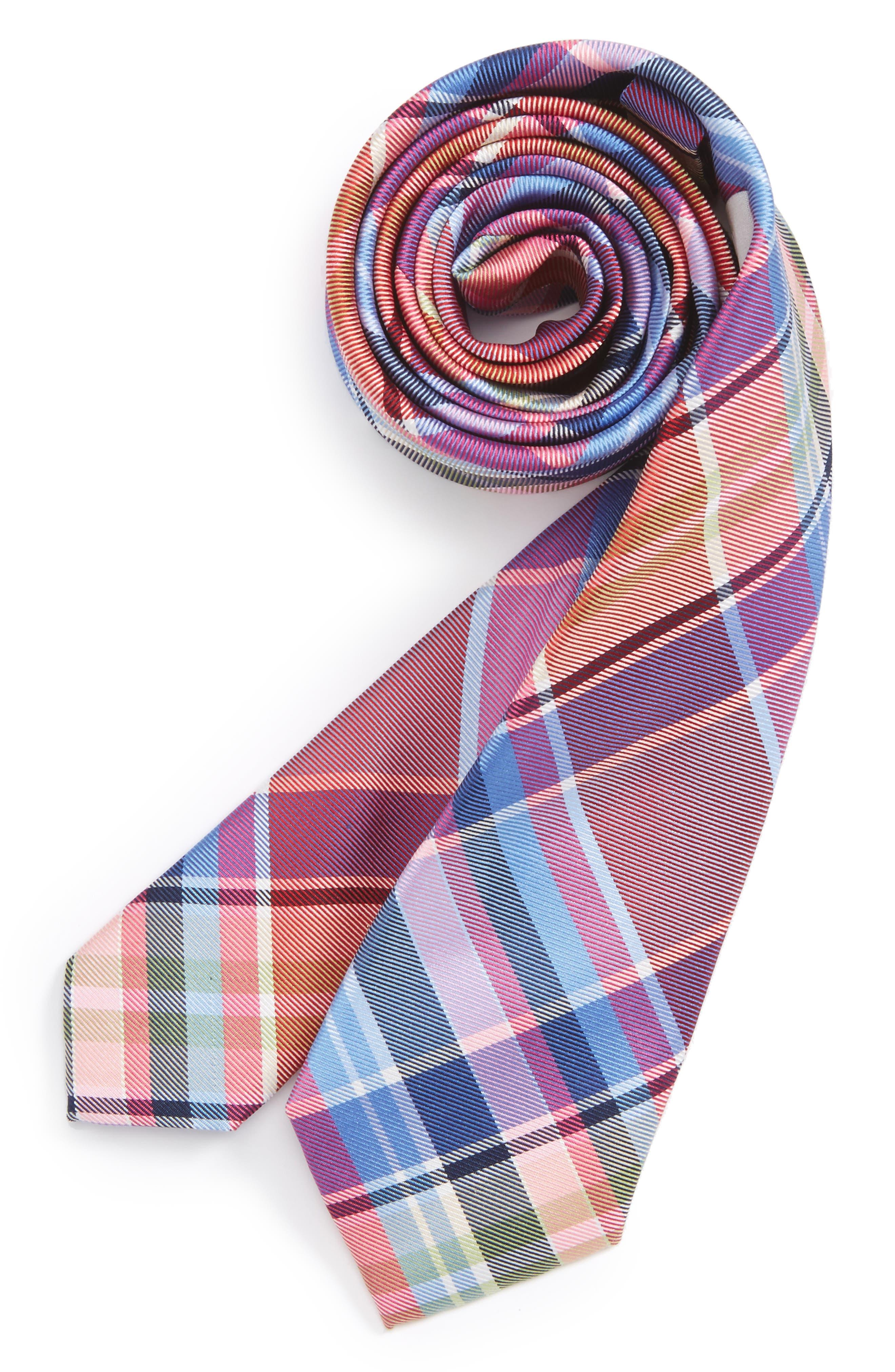 Plaid Silk Tie,                             Main thumbnail 1, color,