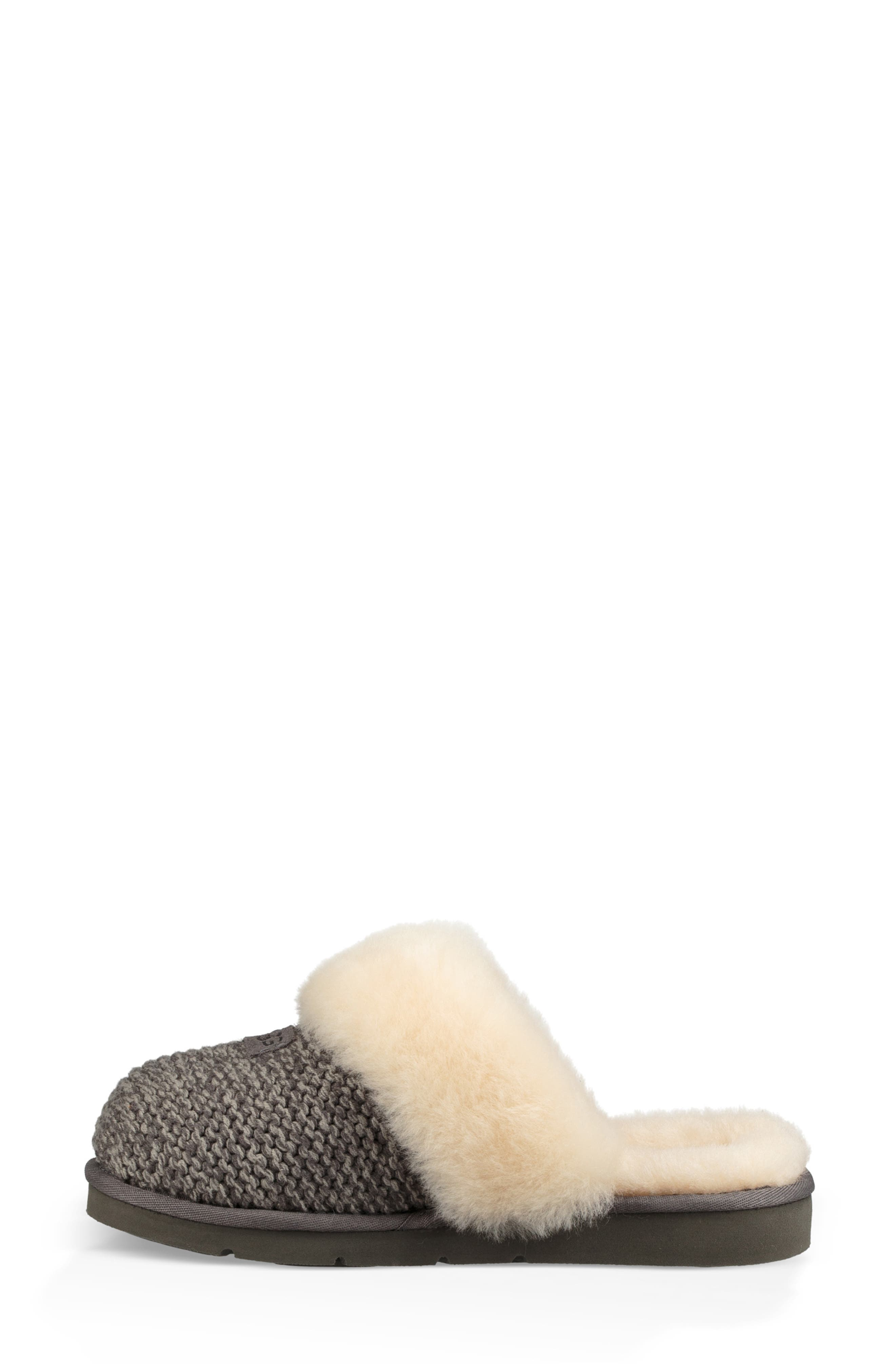 Cozy Knit Genuine Shearling Slipper,                             Alternate thumbnail 6, color,                             CHARCOAL