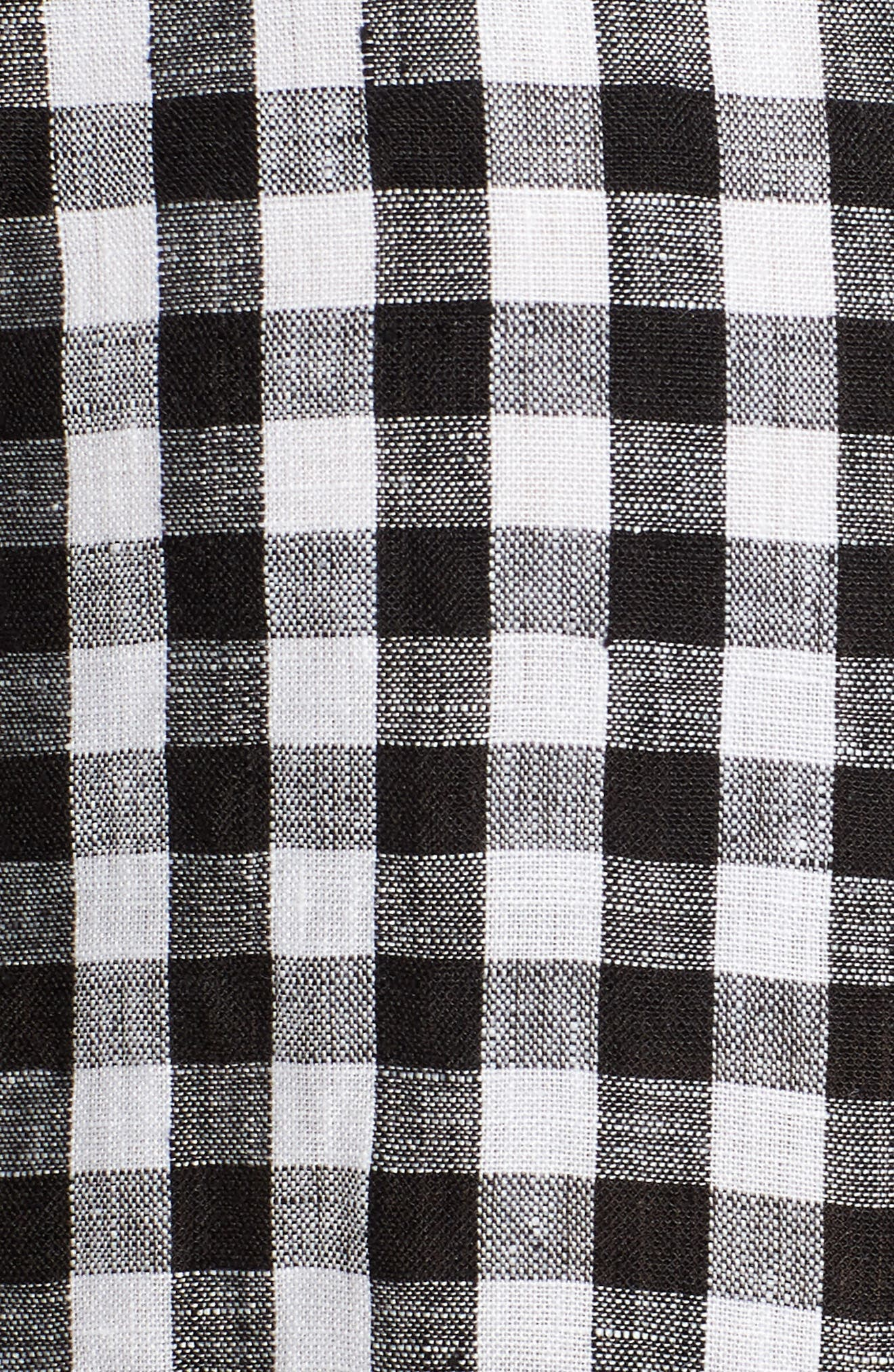 Gingham Organic Linen Top,                             Alternate thumbnail 6, color,                             018