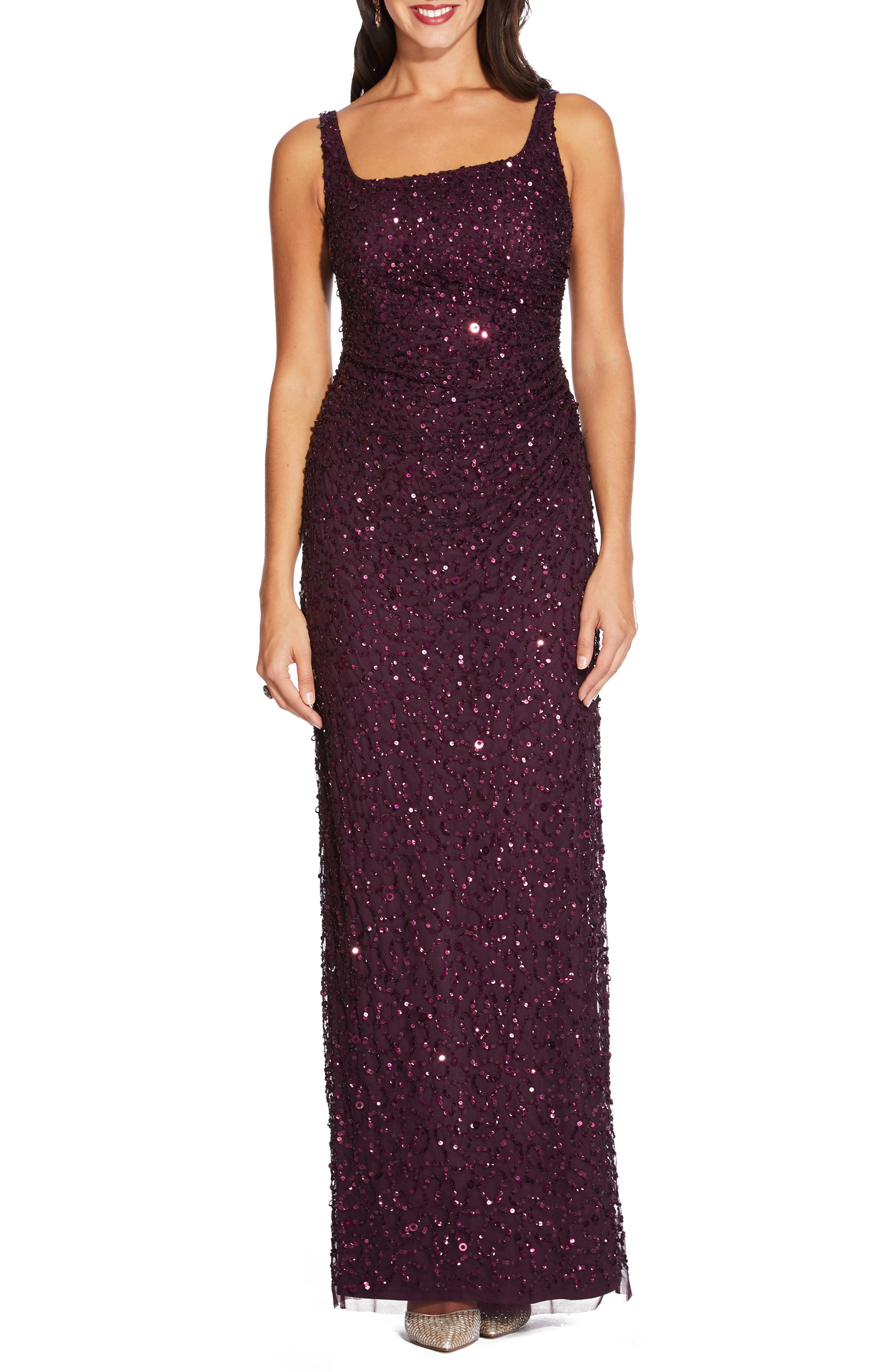 Back Slit Beaded Gown,                             Main thumbnail 1, color,                             501