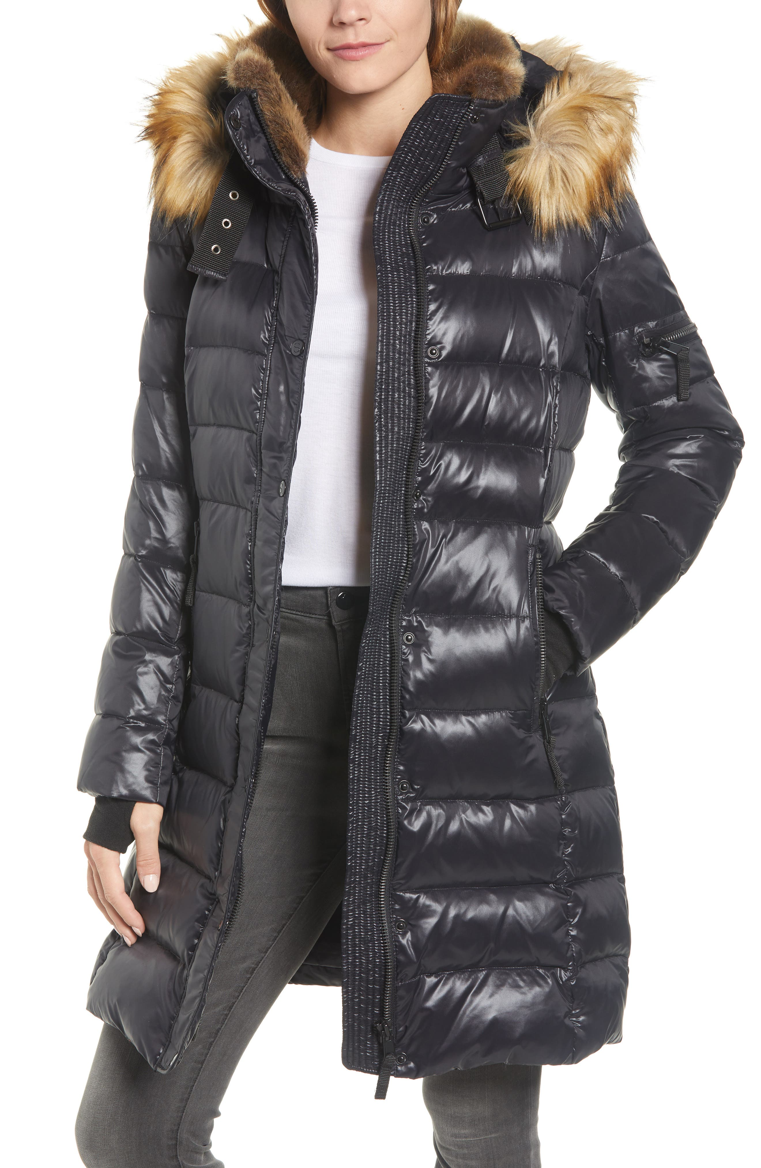 Uptown Down & Feather Fill Faux Fur Quilted Parka, Main, color, 002