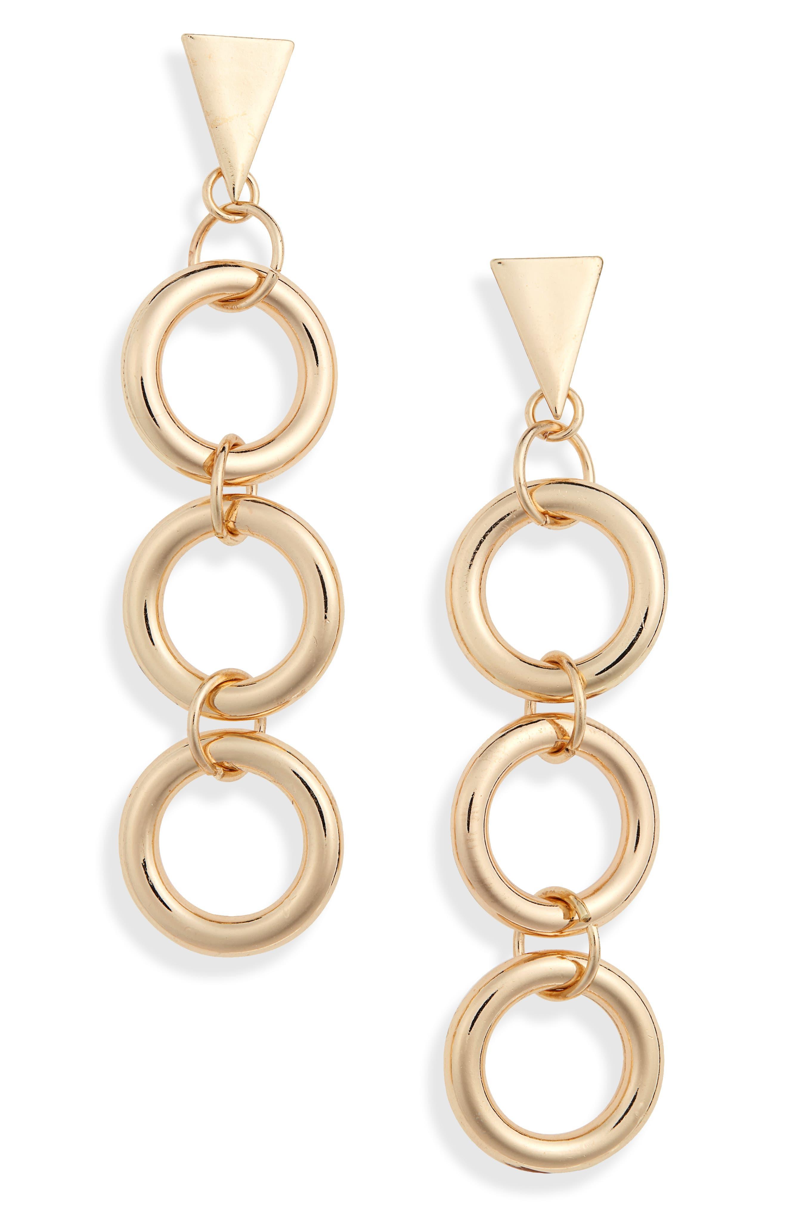 Chainlink Drop Earrings,                             Main thumbnail 1, color,                             GOLD