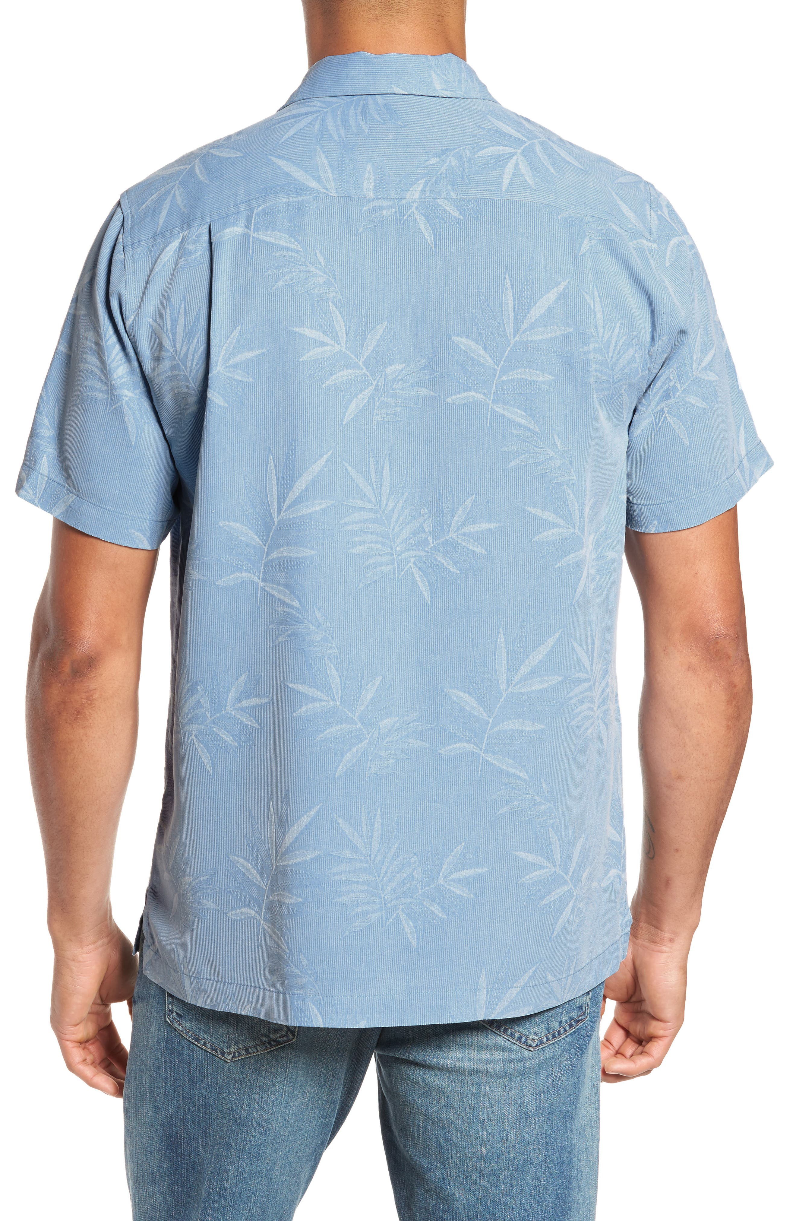 Luau Floral Silk Shirt,                             Alternate thumbnail 2, color,                             LIGHT SKY
