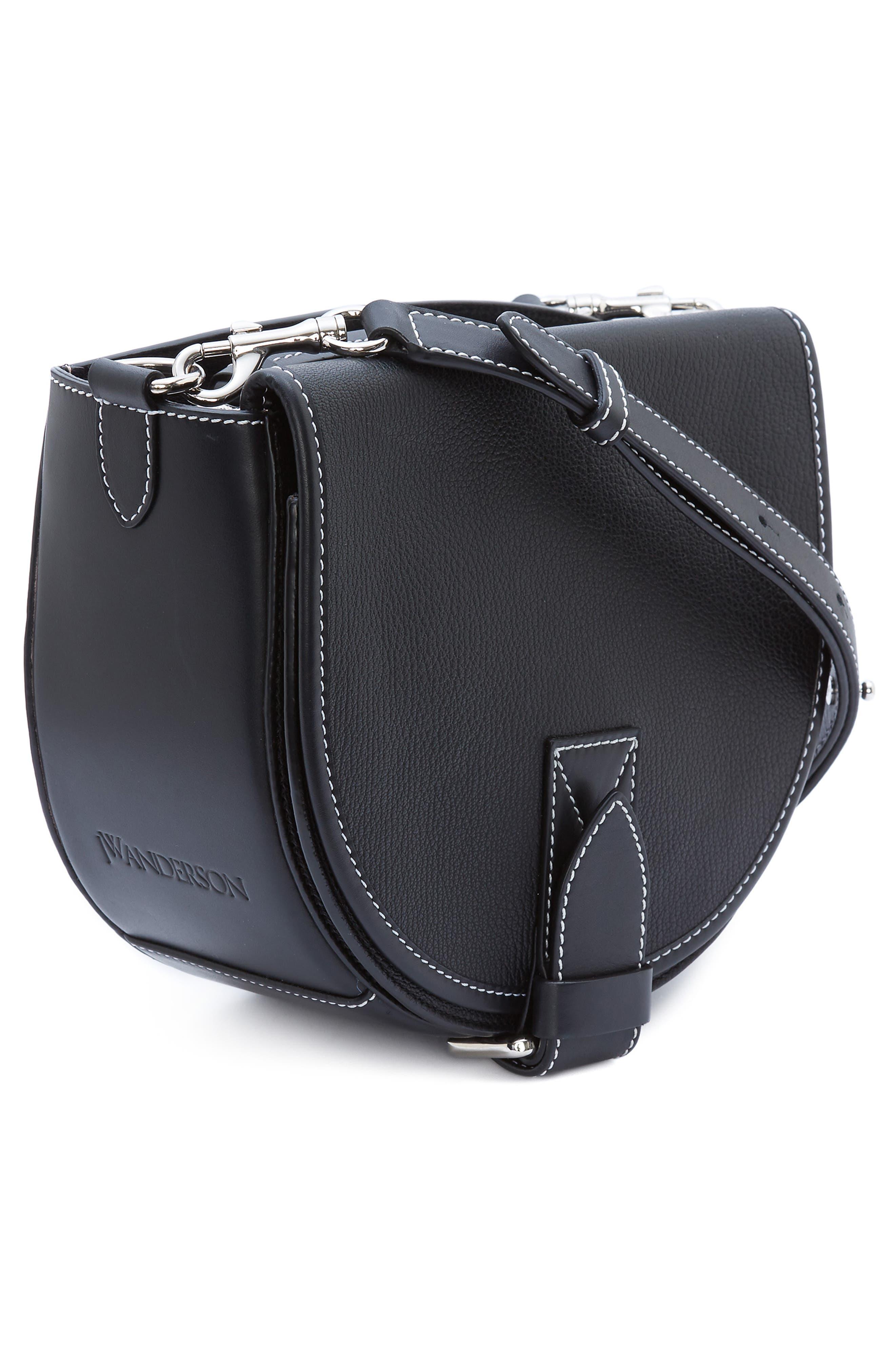 JW ANDERSON,                             Small Bike Leather Crossbody Bag,                             Alternate thumbnail 5, color,                             BLACK