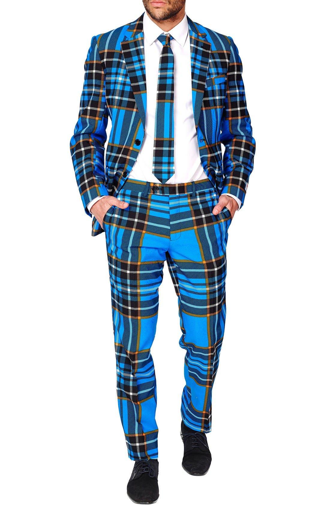 'Braveheart' Trim Fit Suit with Tie,                             Main thumbnail 1, color,                             421