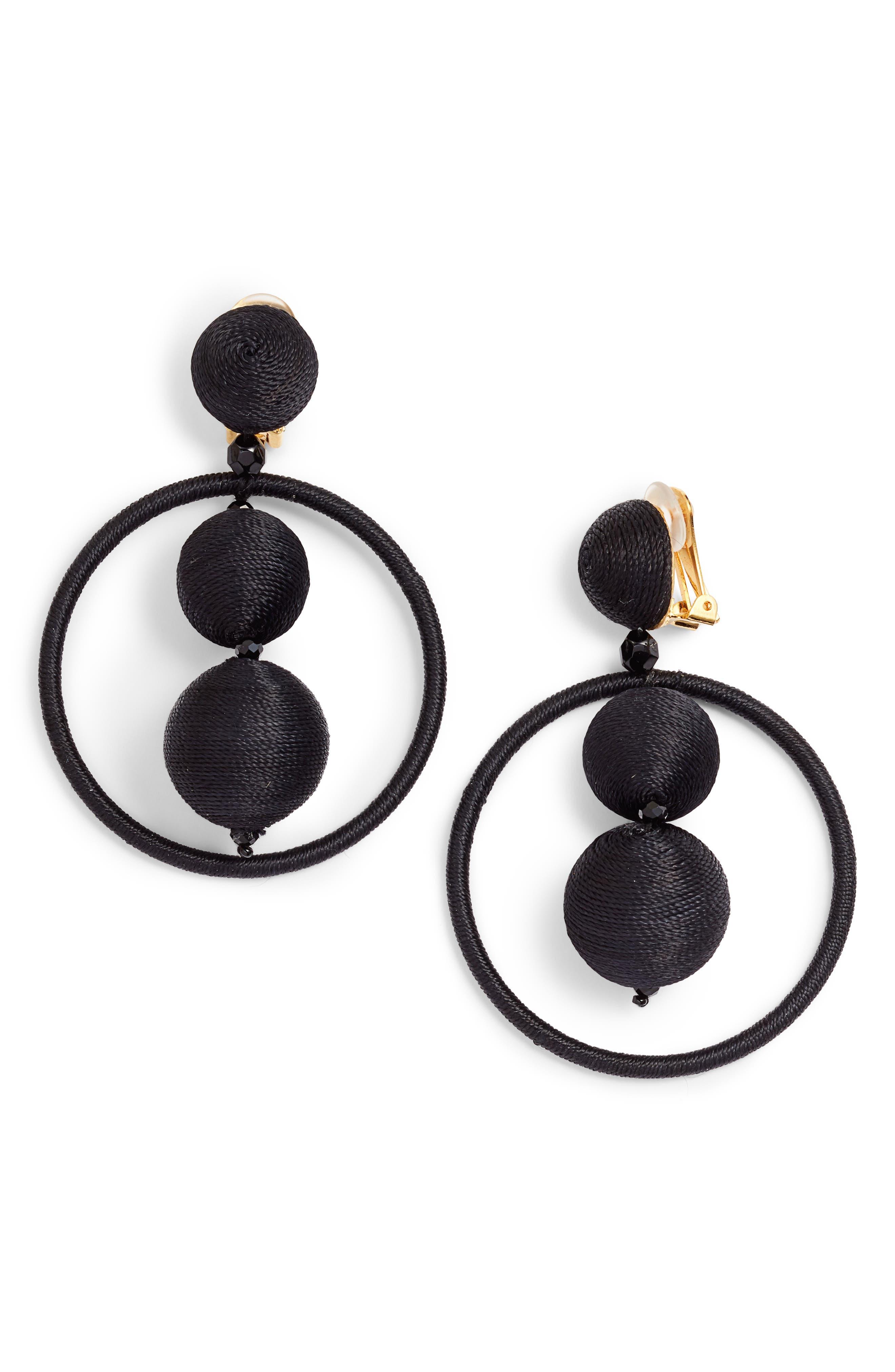 OSCAR DE LA RENTA,                             Double Beaded Ball Hoop Clip-On Earrings,                             Main thumbnail 1, color,                             001