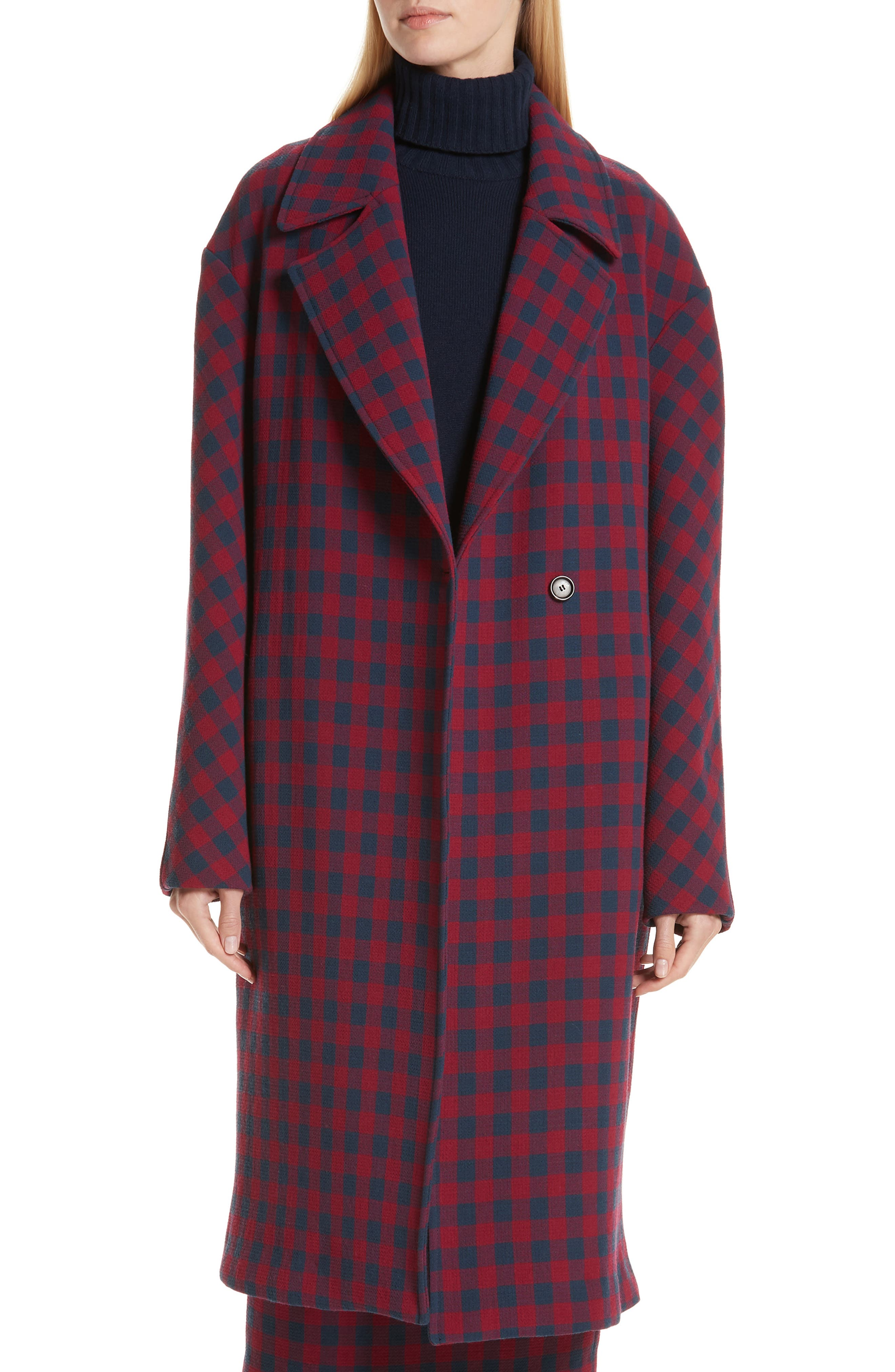 Copeland Check Crepe Coat, Main, color, BERRY/ NAVY