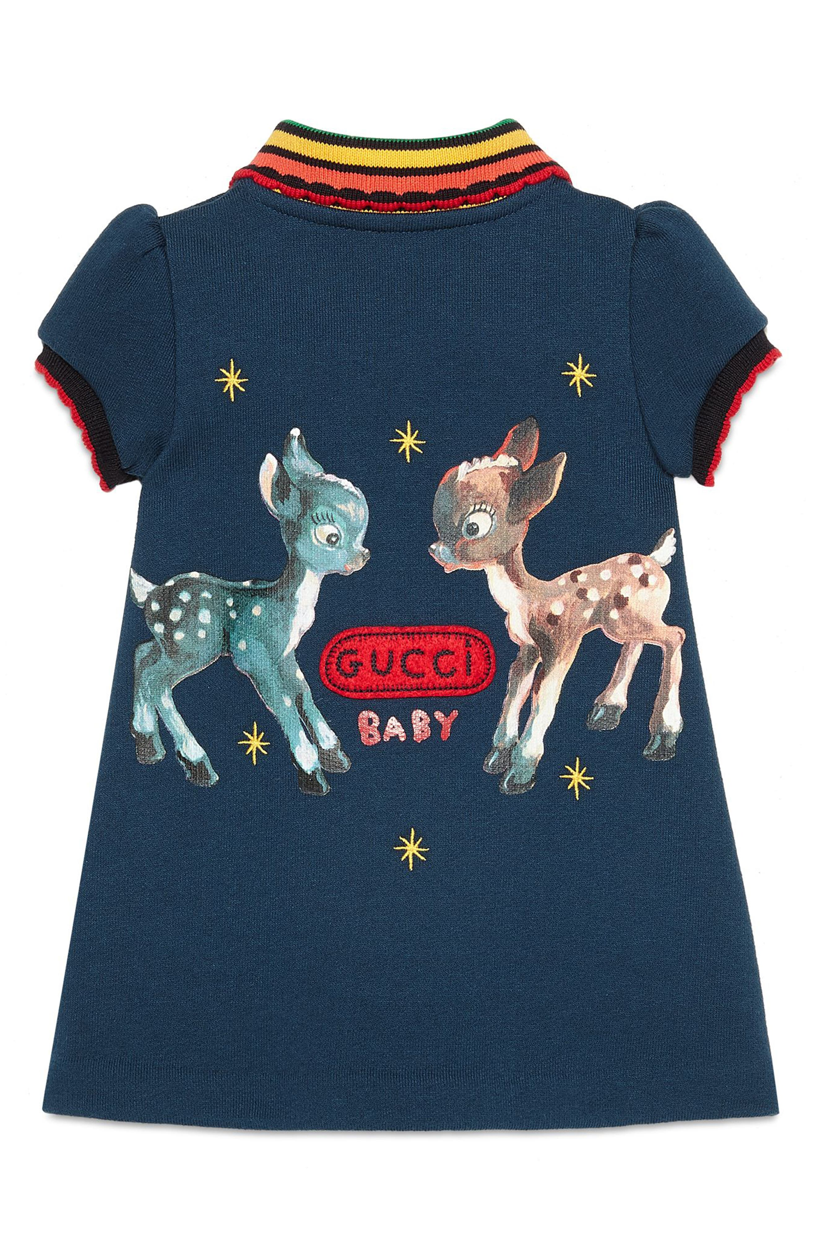 GUCCI,                             Fawns Polo Dress,                             Alternate thumbnail 2, color,                             PRUSSIAN BLUE/ MULTIC