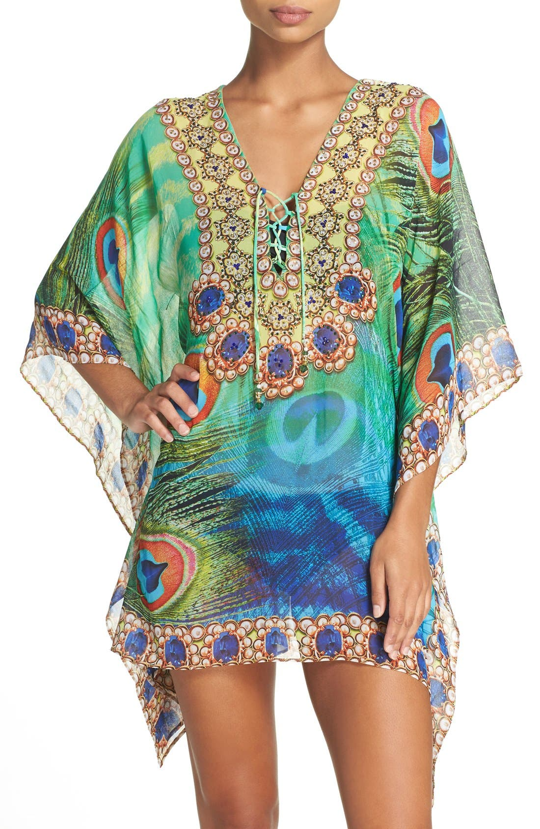 Kashmir Short Kaftan,                             Main thumbnail 1, color,                             GREEN