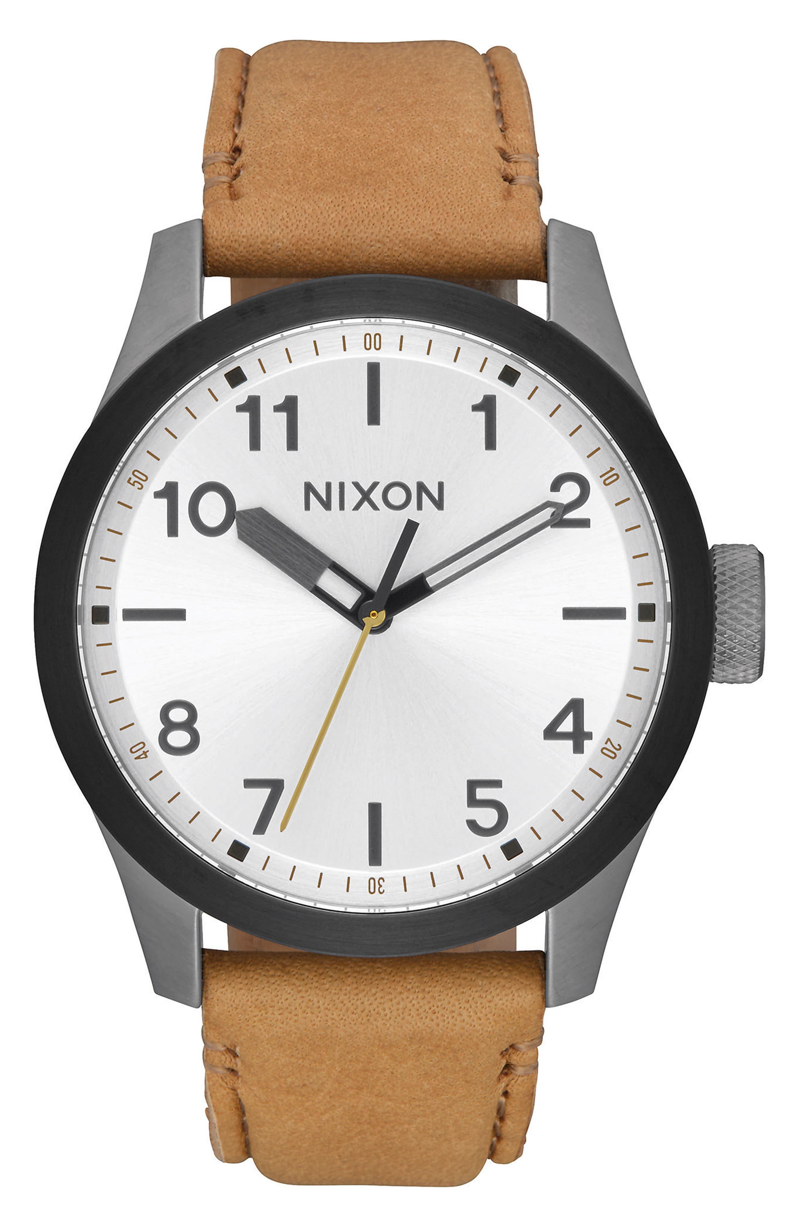 'Safari' Leather Strap Watch, 43mm,                             Main thumbnail 2, color,