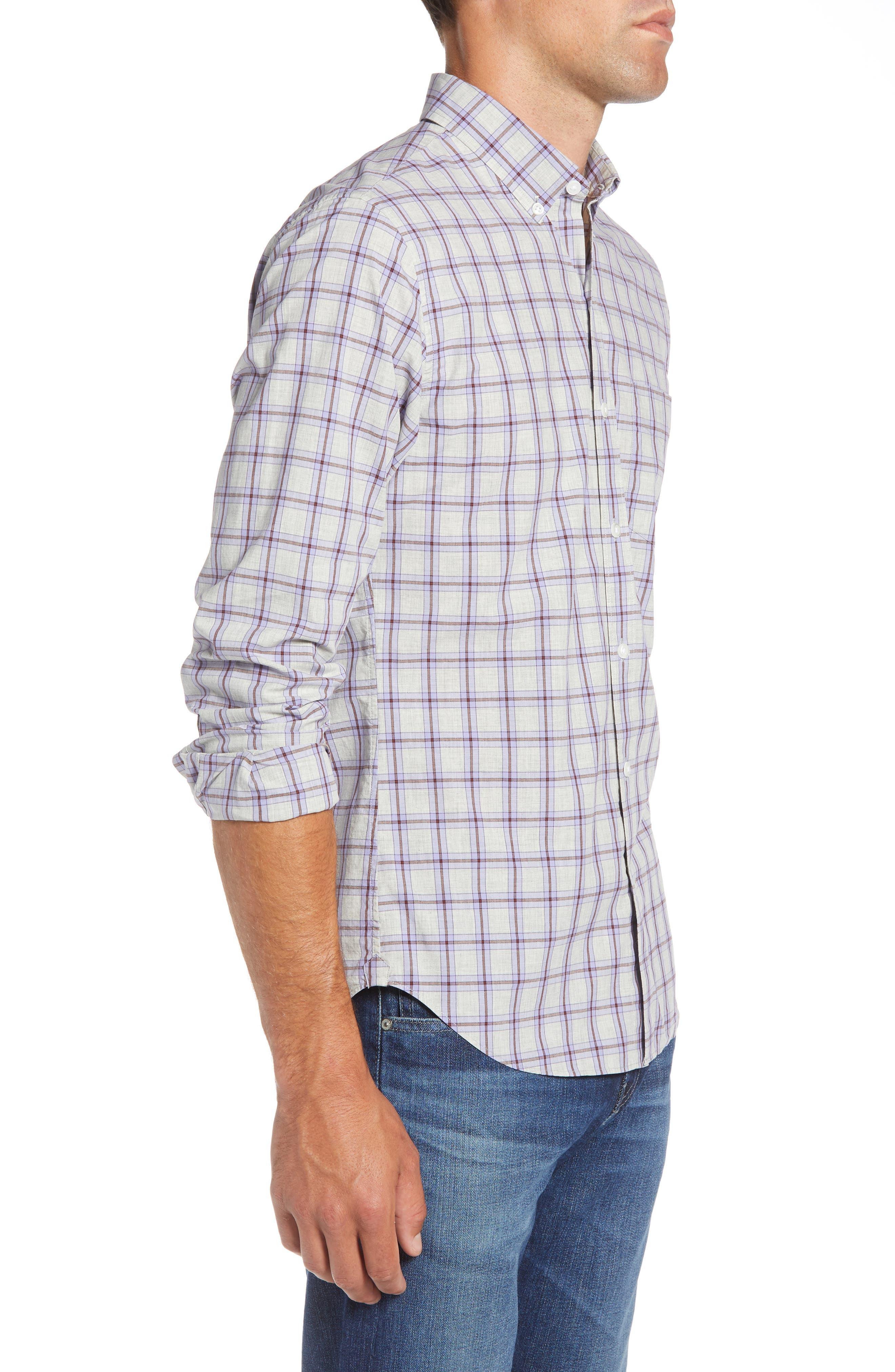 Slim Fit Washed Check Sport Shirt,                             Alternate thumbnail 4, color,                             STONEGATE CHECK - AZULENE