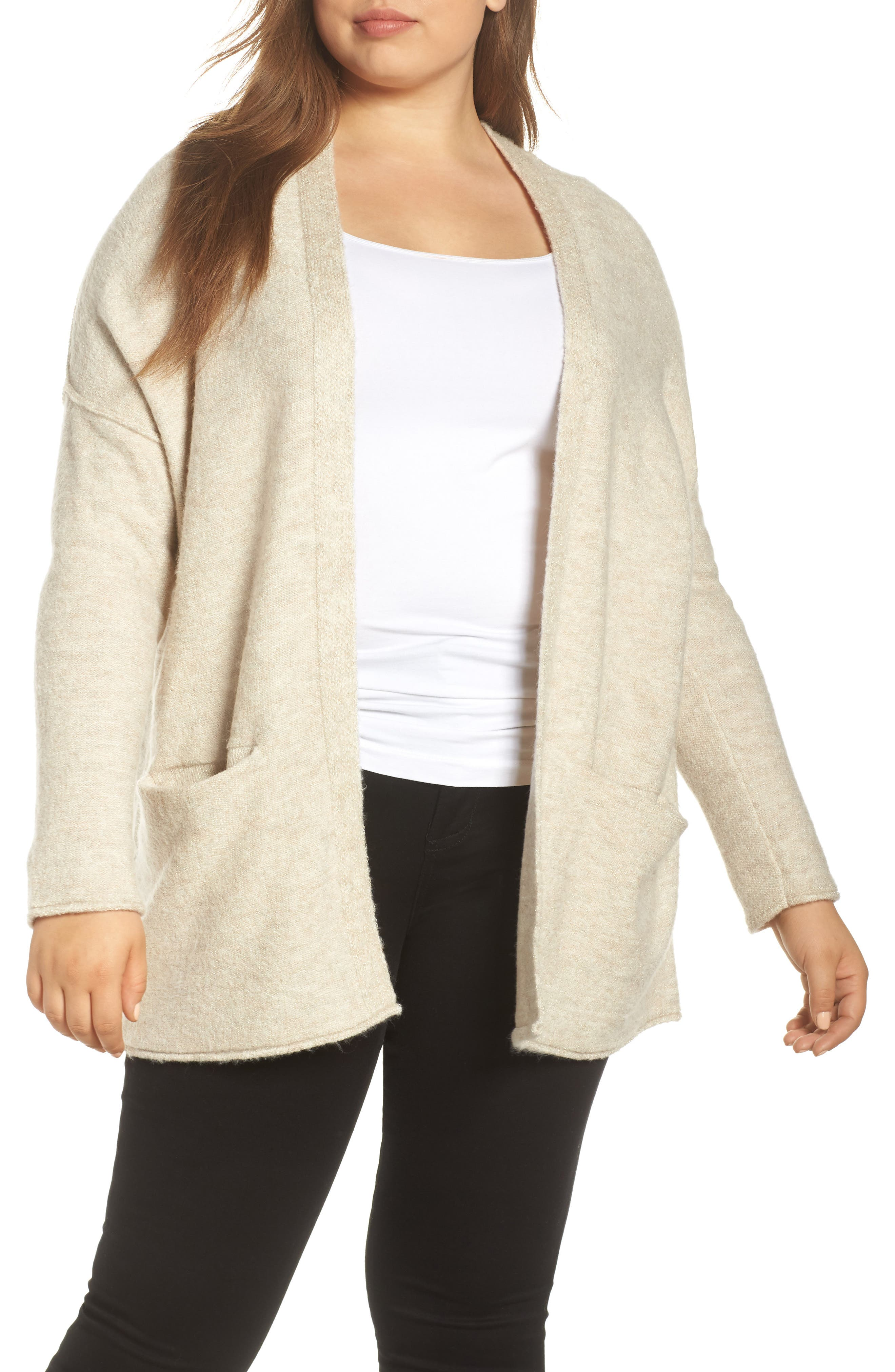 Dolman Sleeve Cardigan,                             Main thumbnail 1, color,                             BEIGE OATMEAL SHIMMER