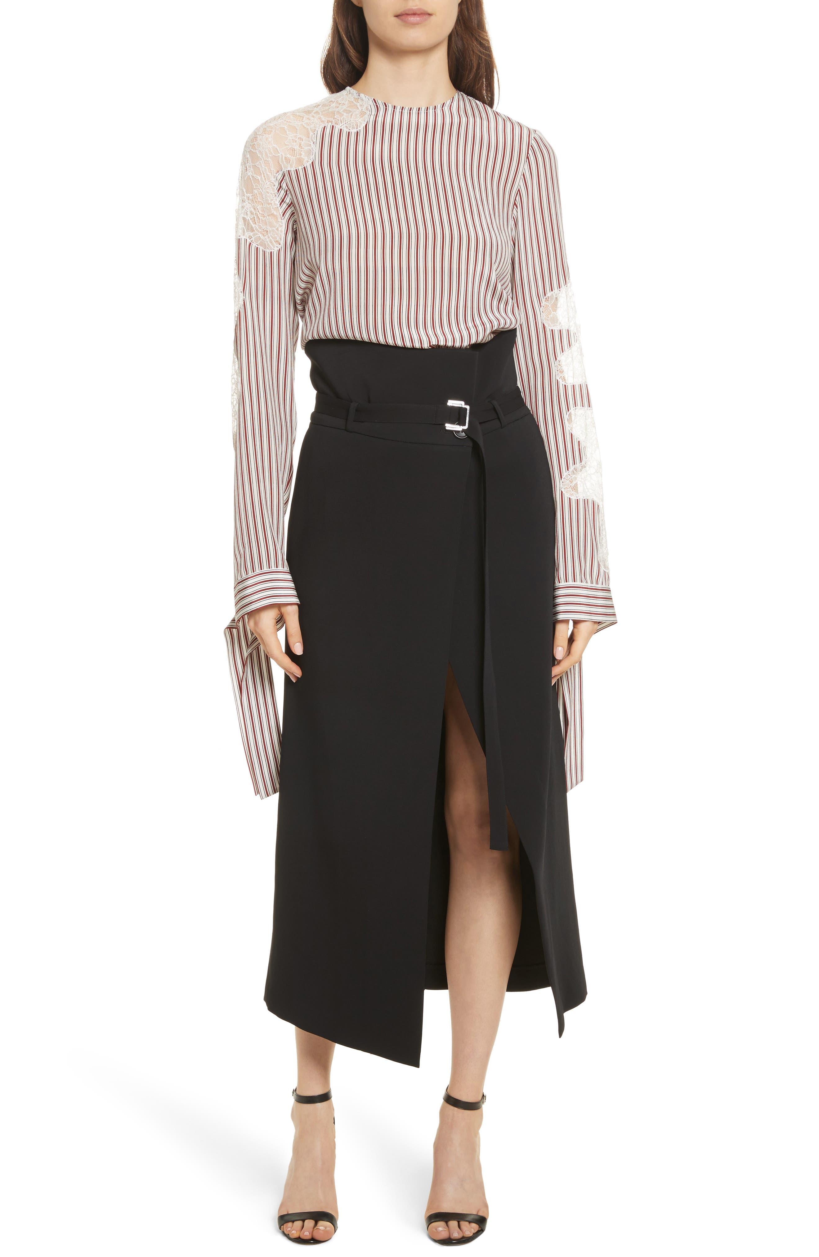 Lace Inset Stripe Blouse,                             Alternate thumbnail 7, color,