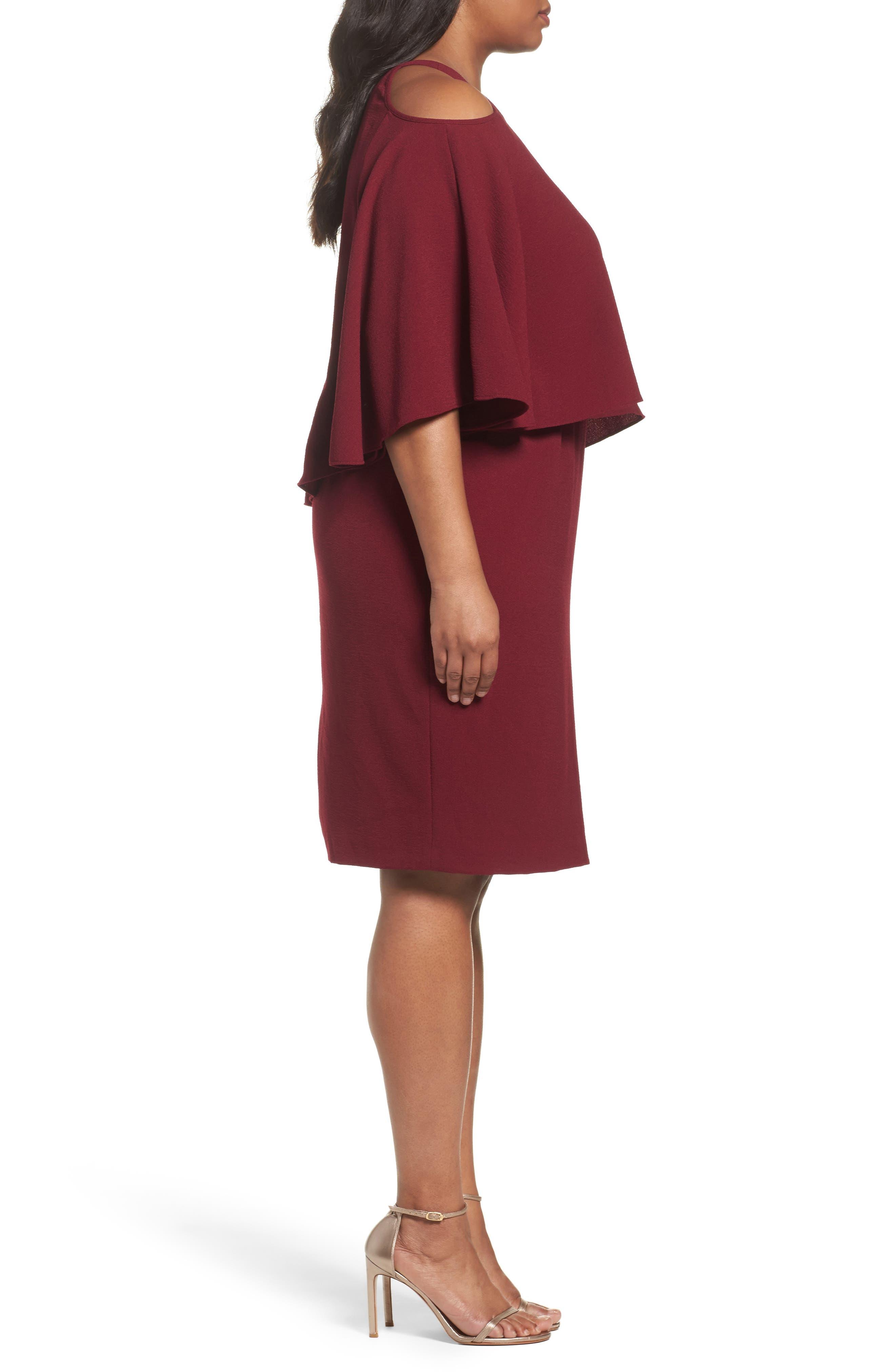 Cold Shoulder Crepe Sheath Dress,                             Alternate thumbnail 6, color,