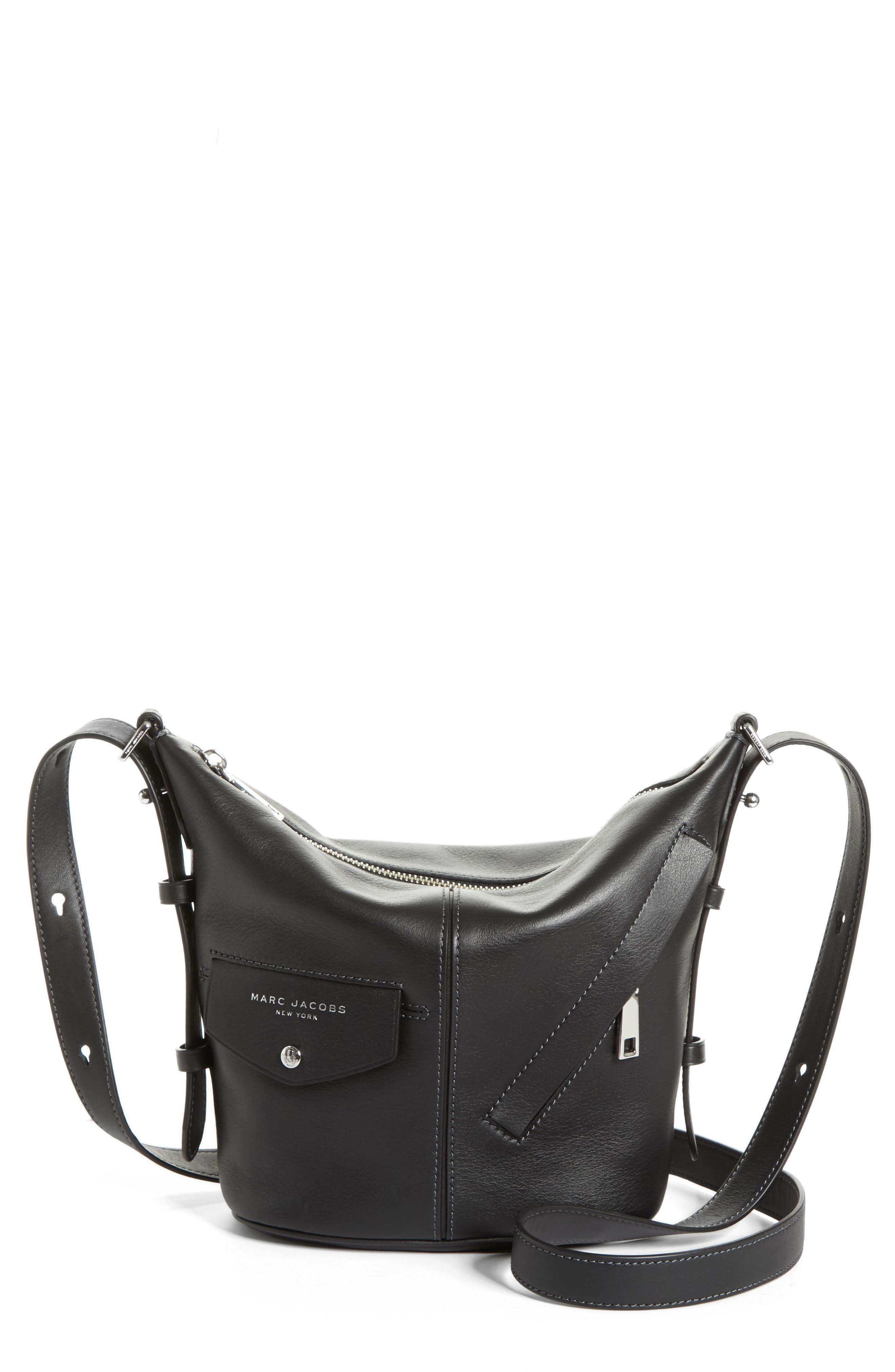 The Mini Sling Convertible Leather Hobo,                             Main thumbnail 1, color,                             001