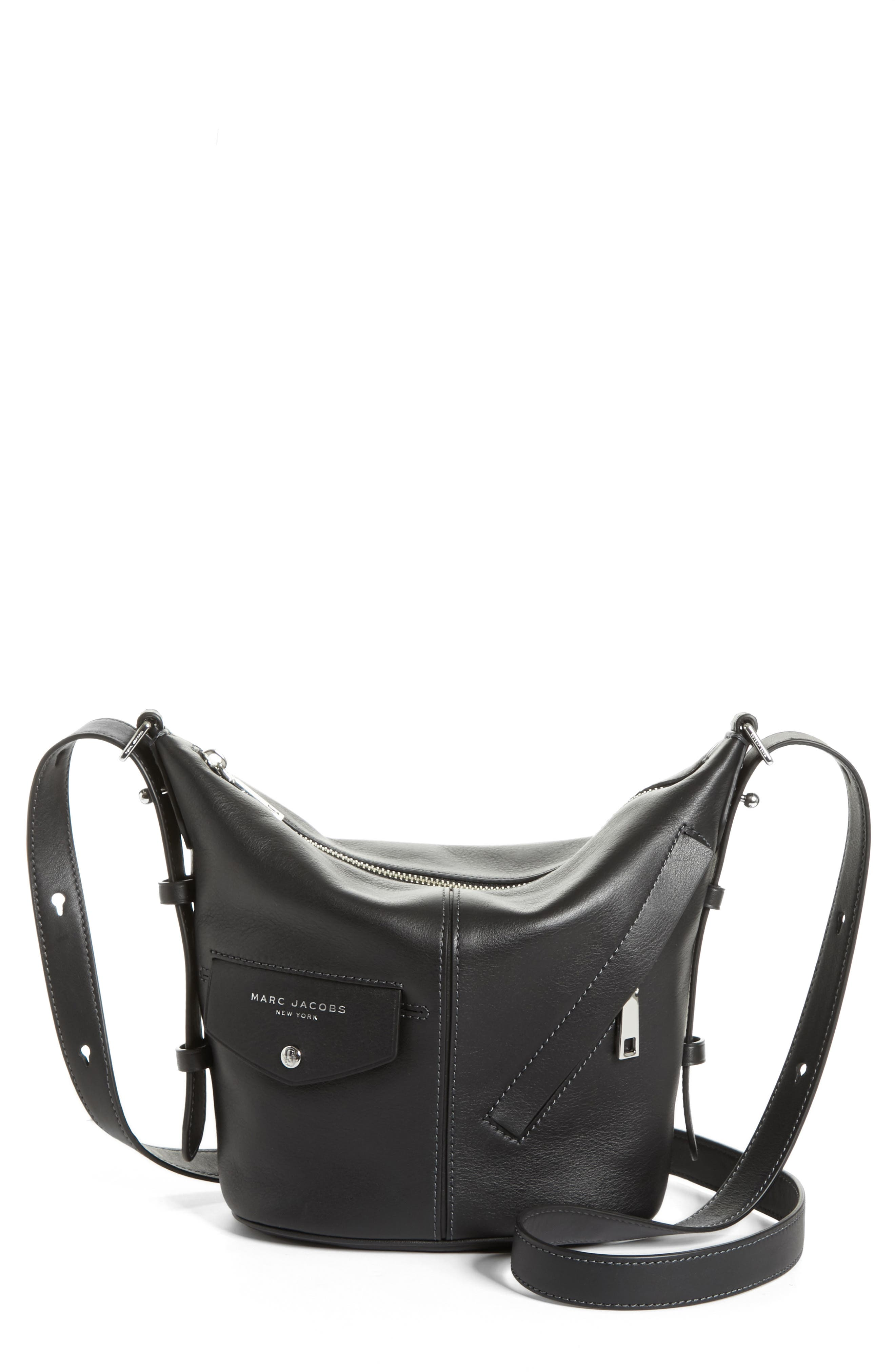 The Mini Sling Convertible Leather Hobo,                         Main,                         color, 001