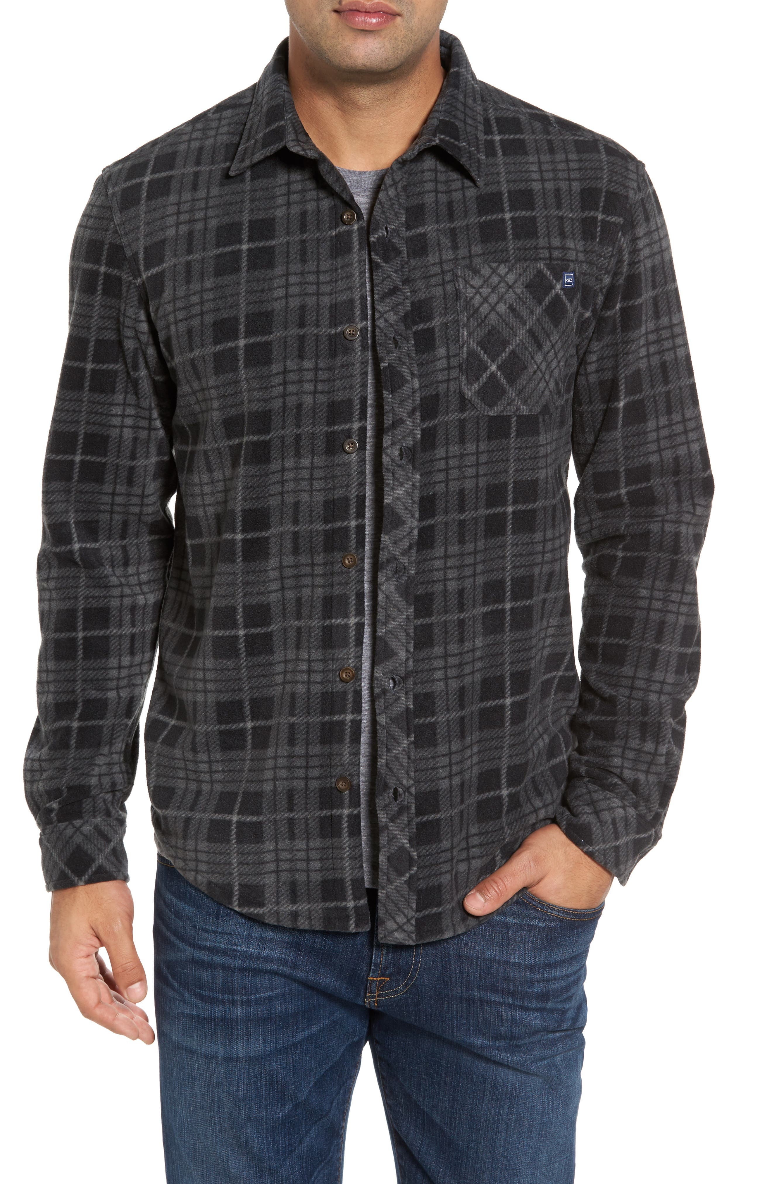 Breakers Regular Fit Plaid Fleece Shirt,                             Main thumbnail 1, color,                             001