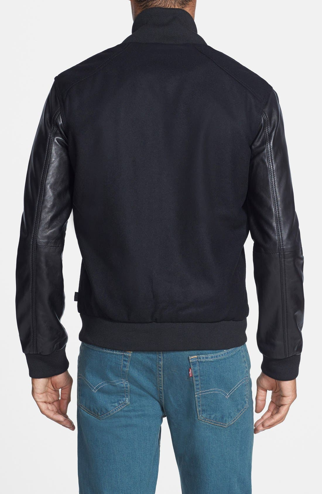 Wool Blend Varsity Jacket with Leather Sleeves,                             Alternate thumbnail 3, color,                             001