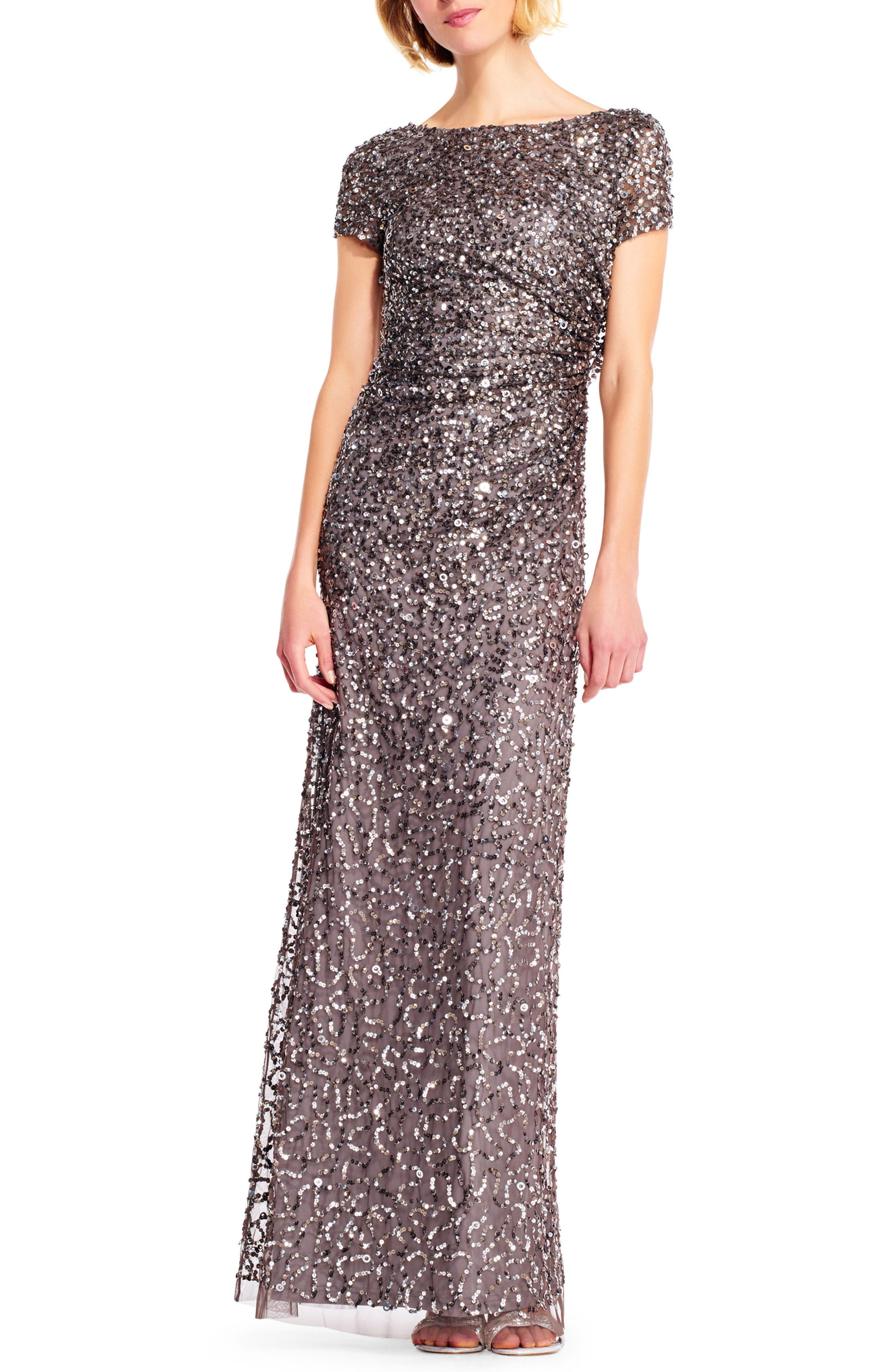 Sequin Cowl Back Gown,                             Main thumbnail 1, color,