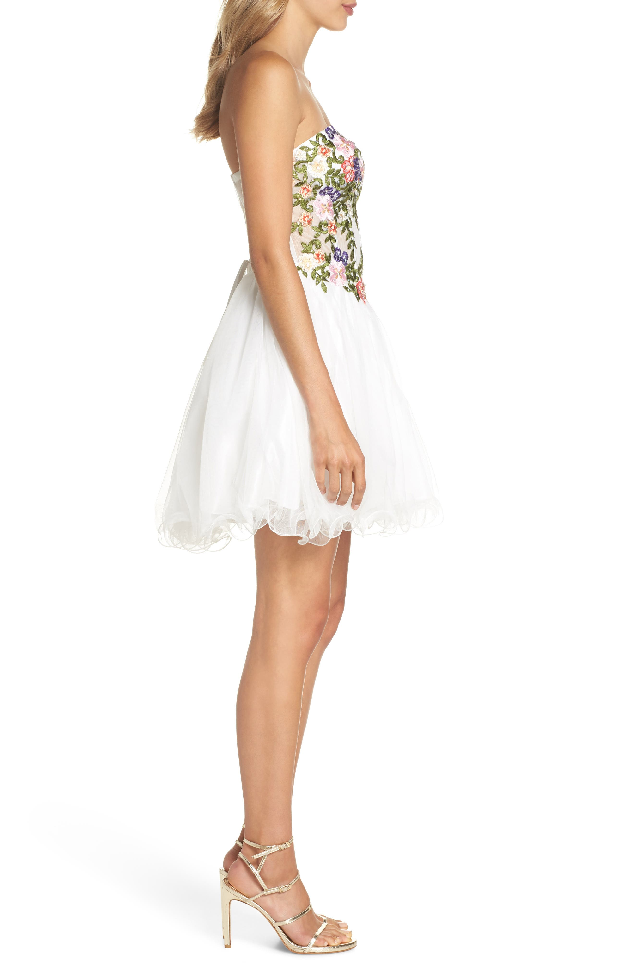 Embroidered Lace Fit & Flare Dress,                             Alternate thumbnail 3, color,                             IVORY/ MULTI