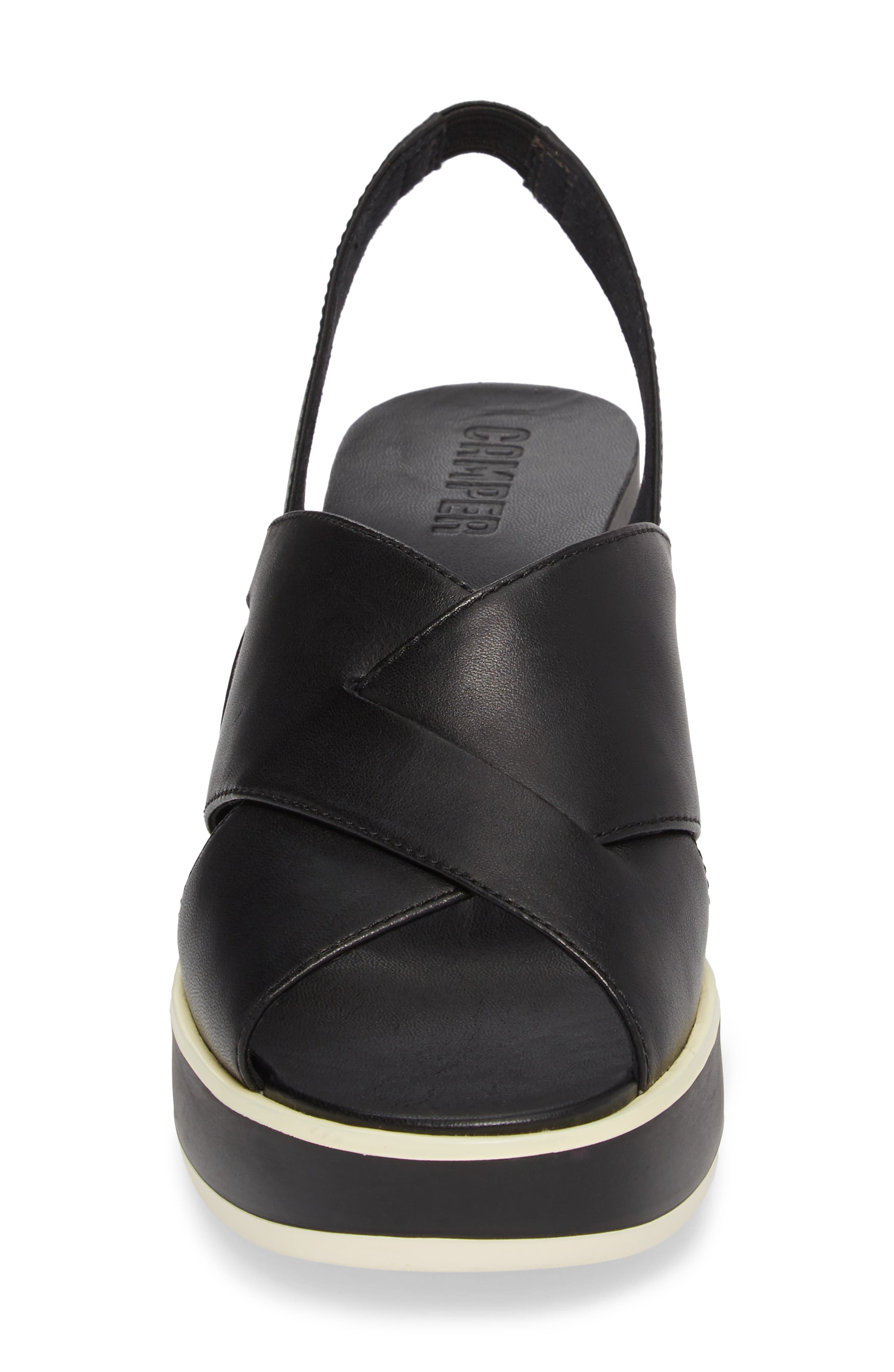 Tropik Cross Strap Wedge Sandal,                             Alternate thumbnail 4, color,                             BLACK LEATHER