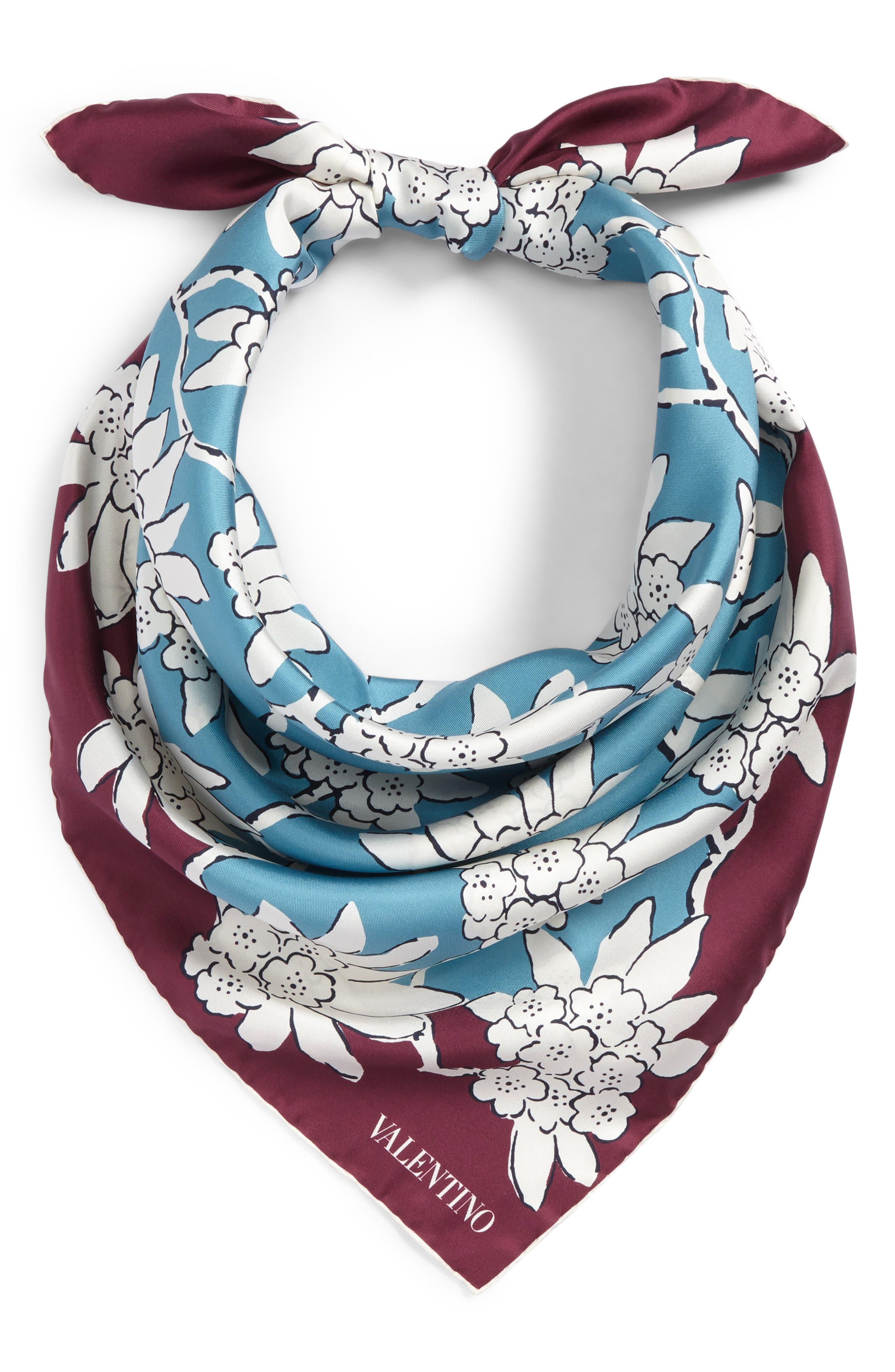 GARAVANI Rhododenron Square Silk Scarf,                             Alternate thumbnail 2, color,                             400
