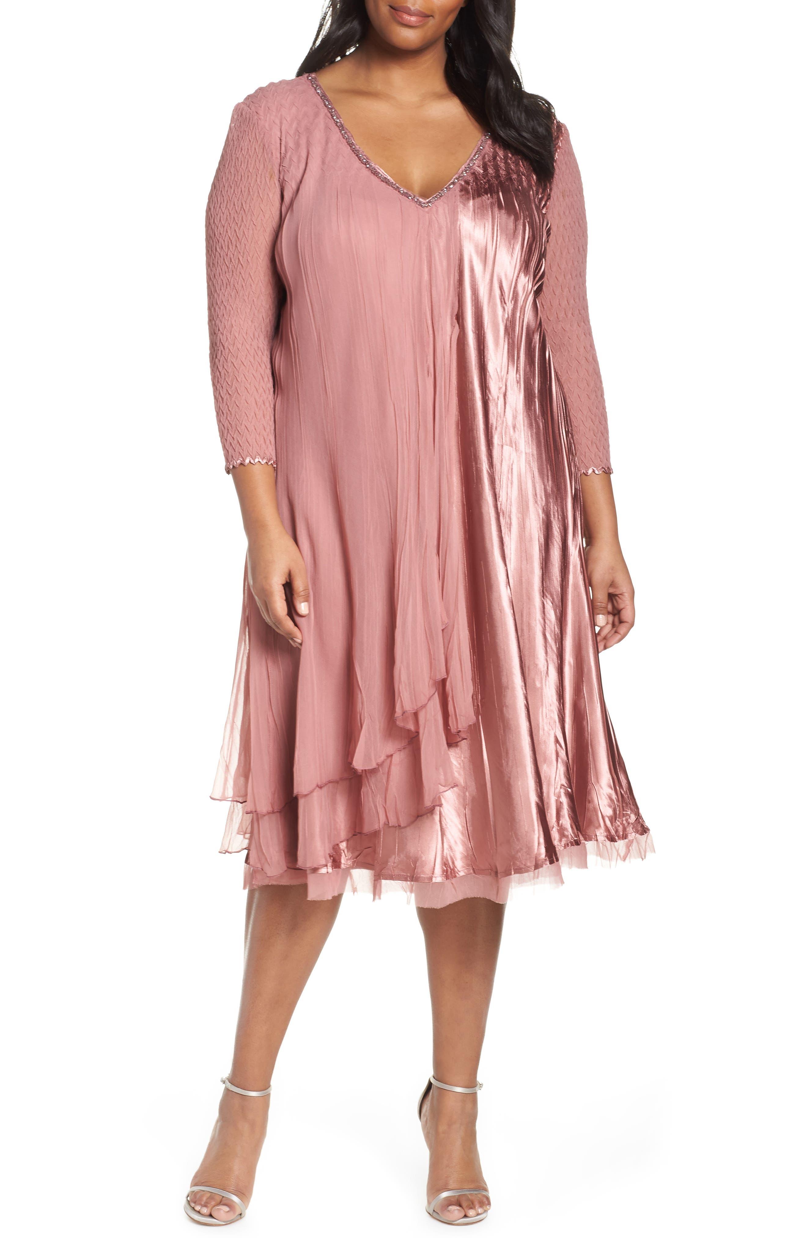 Plus Size Komarov Tiered A-Line Dress, Pink