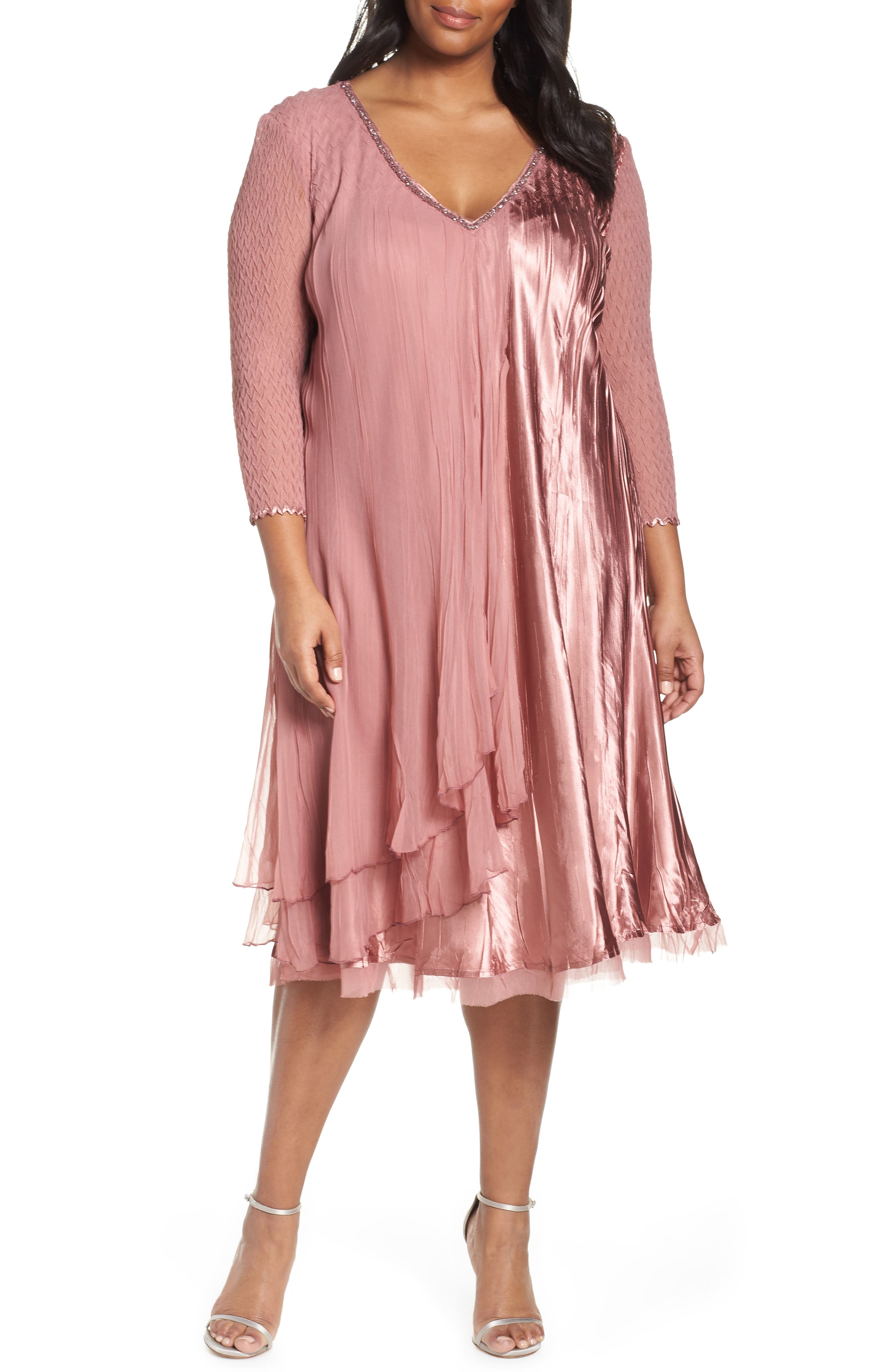 Tiered A-Line Dress, Main, color, ROSEWOOD