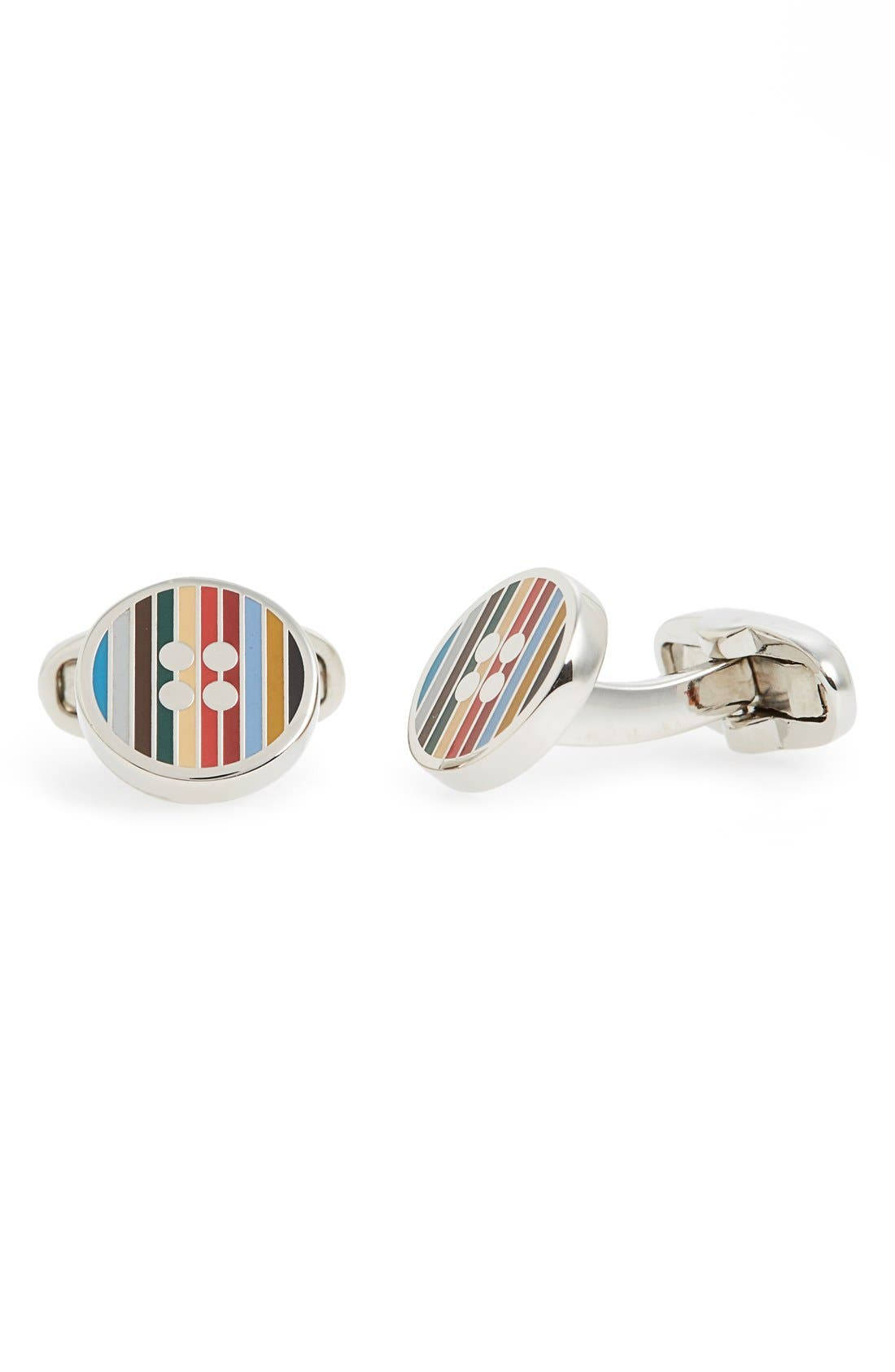 Stripe Button Cuff Links,                         Main,                         color, 049