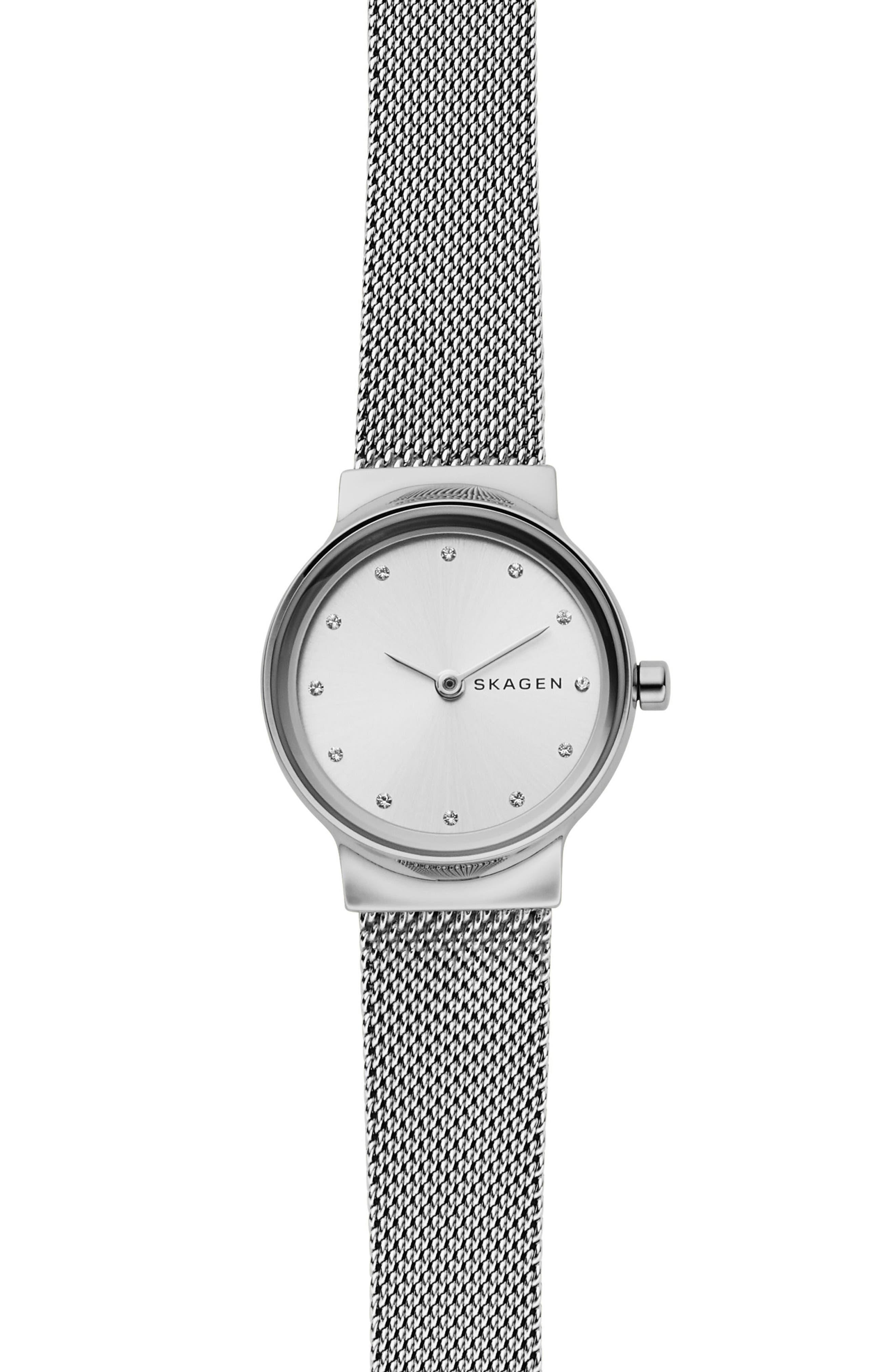 SKAGEN,                             Freja Bracelet Watch, 26mm,                             Main thumbnail 1, color,                             SILVER