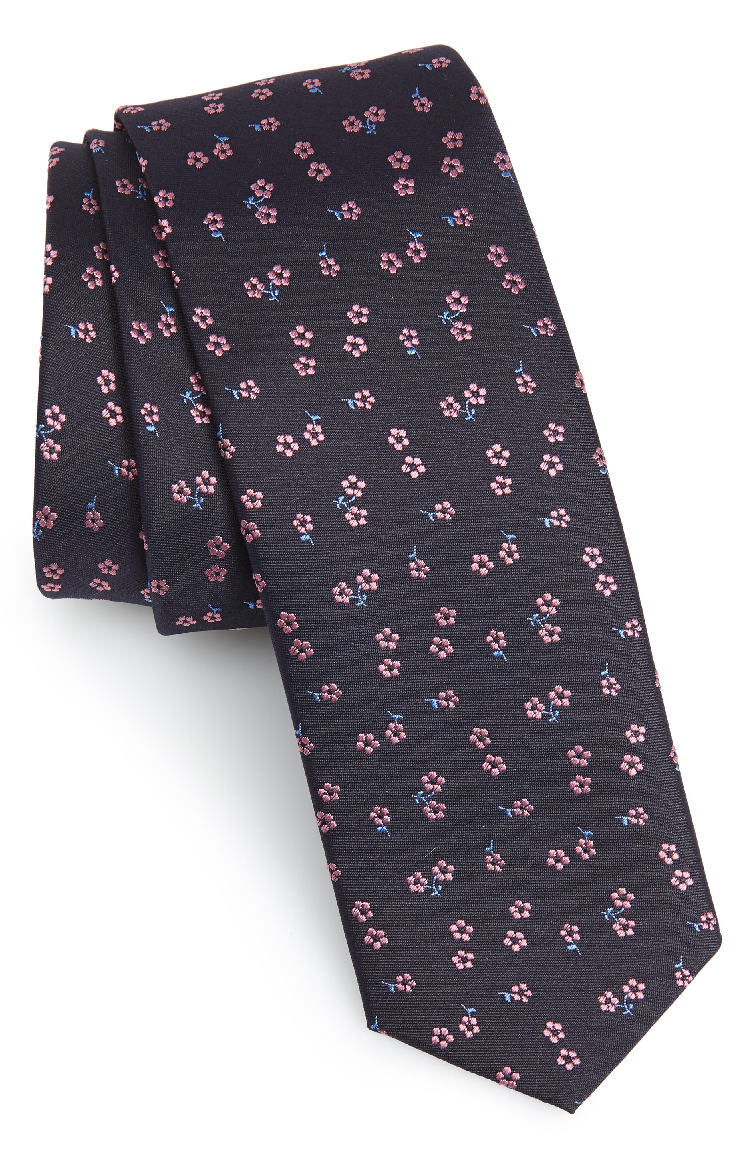 Floral Silk Skinny Tie,                         Main,                         color, 401